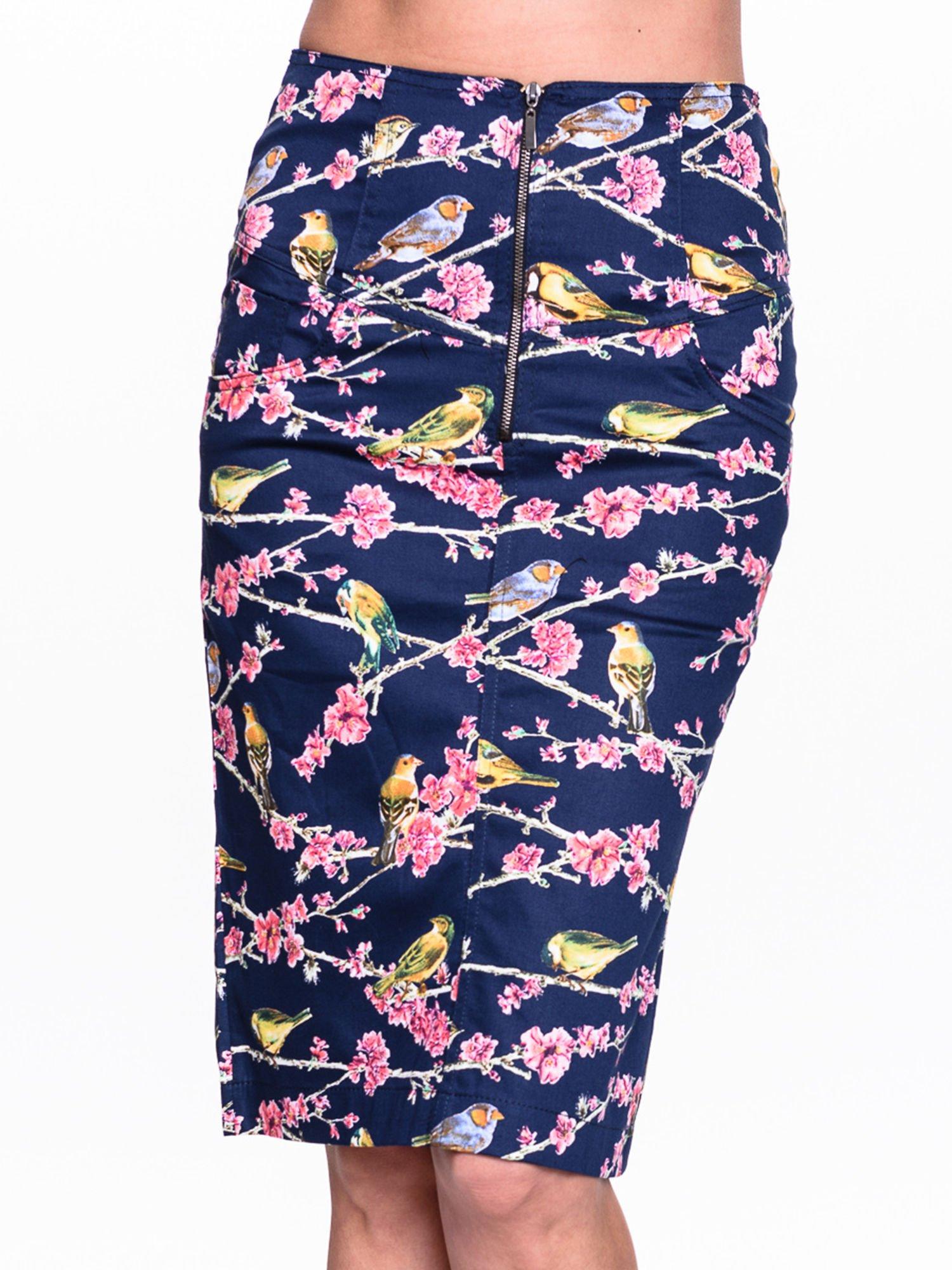 Granatowa spódnica midi w ptaszki                                  zdj.                                  5