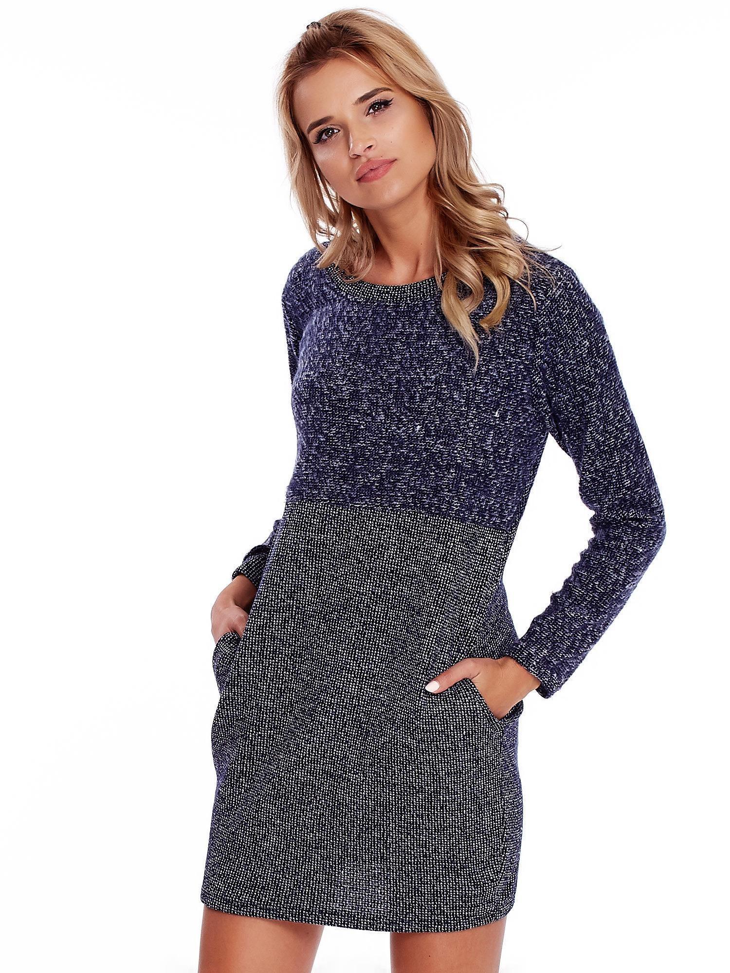 610ec6fbeb Granatowa sukienka dzianinowa z kieszeniami - Sukienka dzianinowa ...