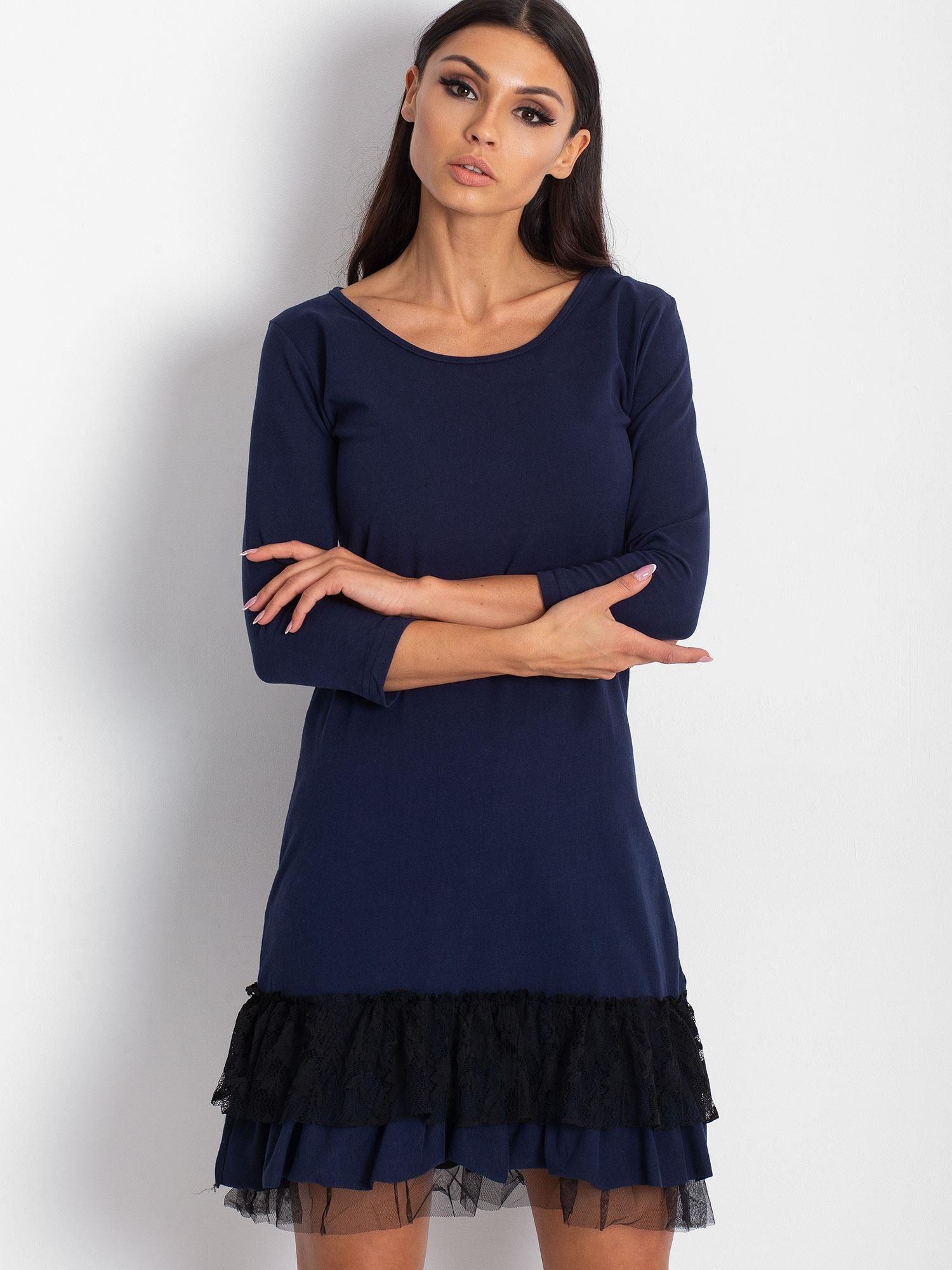 e747d9a4 Ciemnoszara sukienka z tiulem i koronkową falbaną