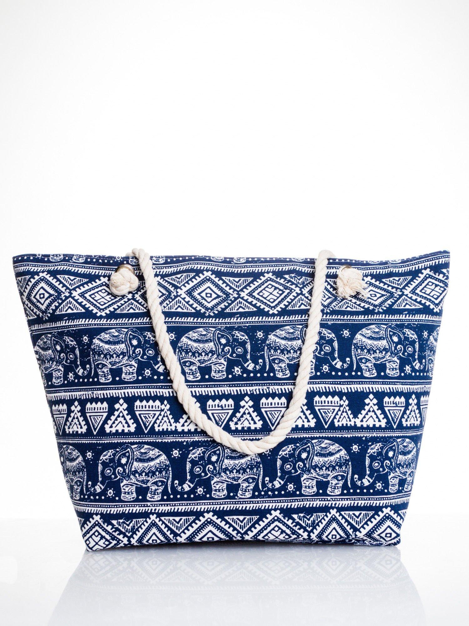 Granatowa torba plażowa w indyjskie wzory                                  zdj.                                  1