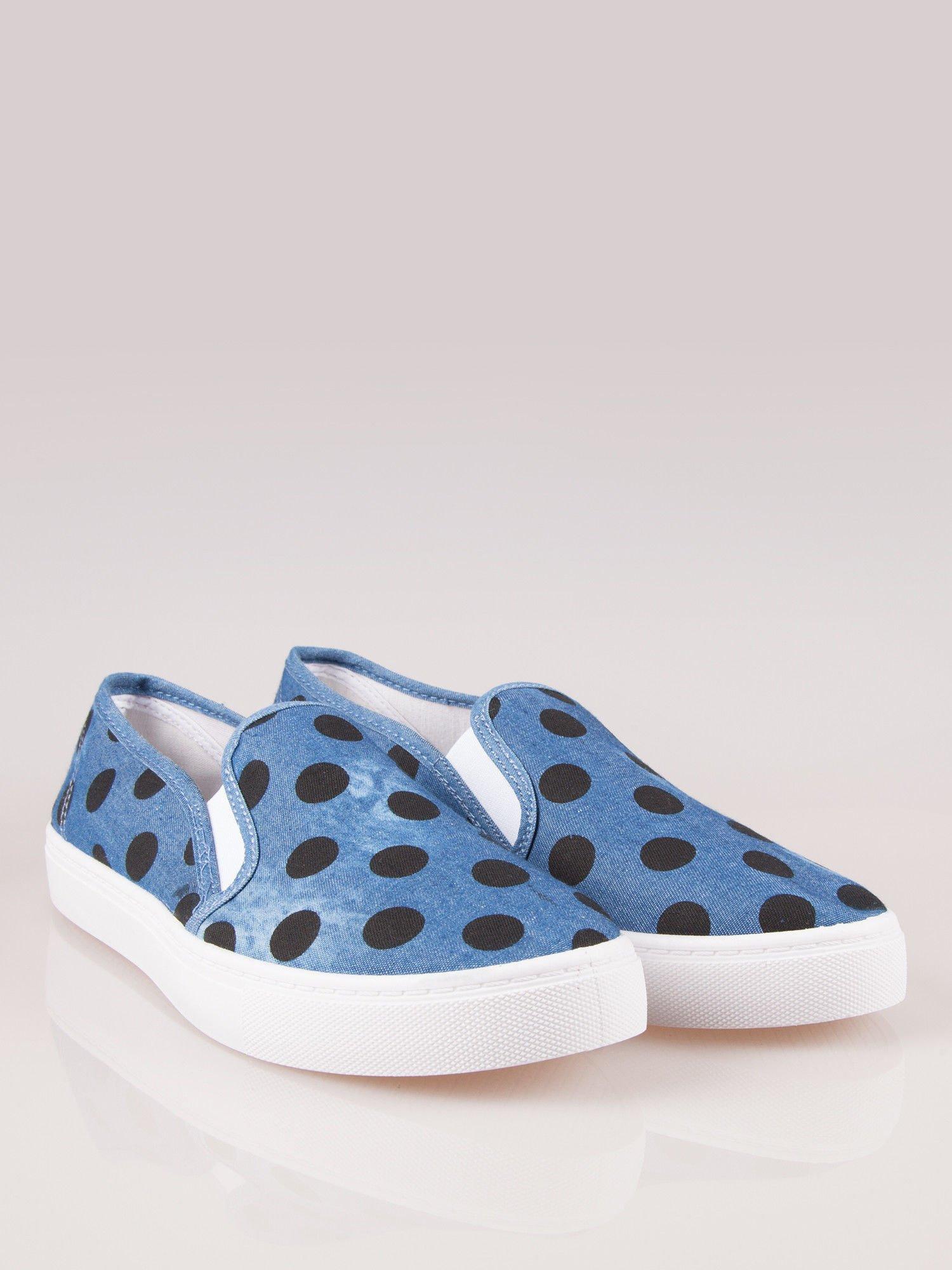 Granatowe buty slip on w groszki                                  zdj.                                  1