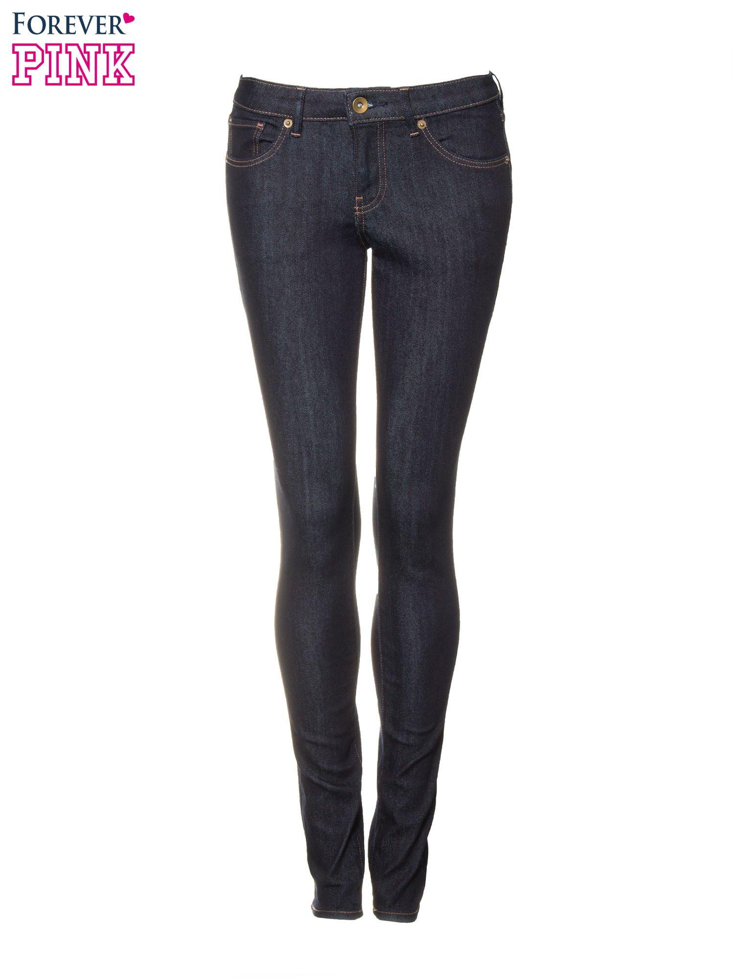 Granatowe klasyczne spodnie jeansowe rurki                                  zdj.                                  5