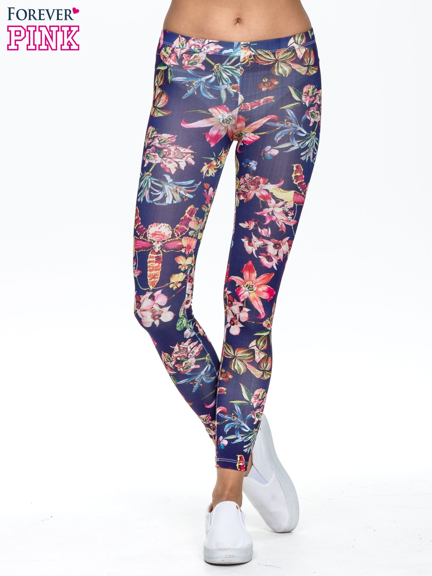 Granatowe legginsy z egzotycznym nadrukiem                                   zdj.                                  1