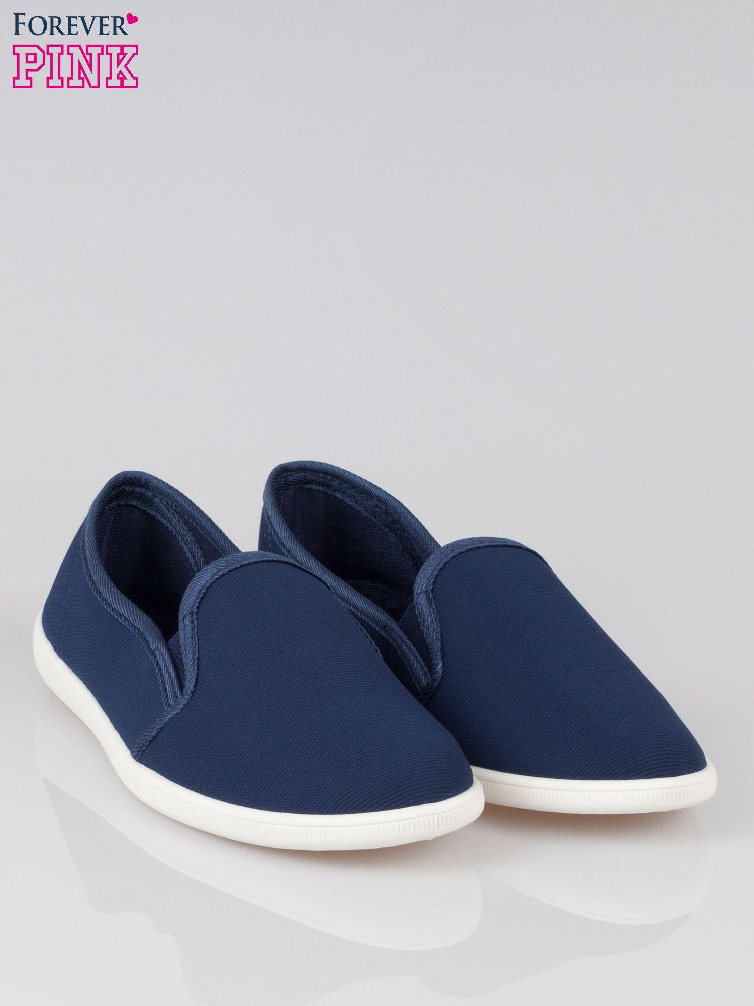 Granatowe lekkie buty sliponki                                  zdj.                                  2