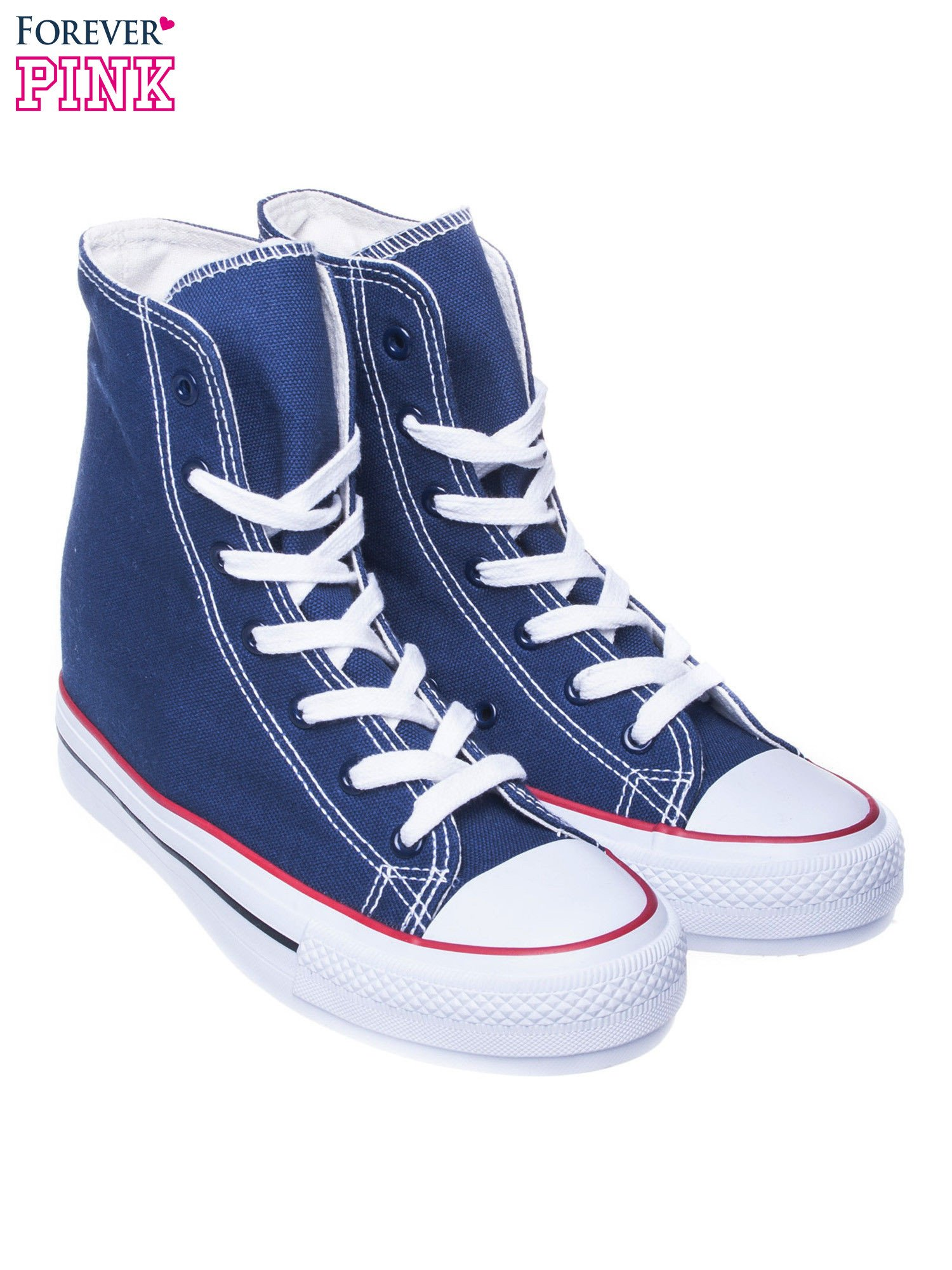 Granatowe sneakersy trampki damskie na koturnie                                  zdj.                                  2