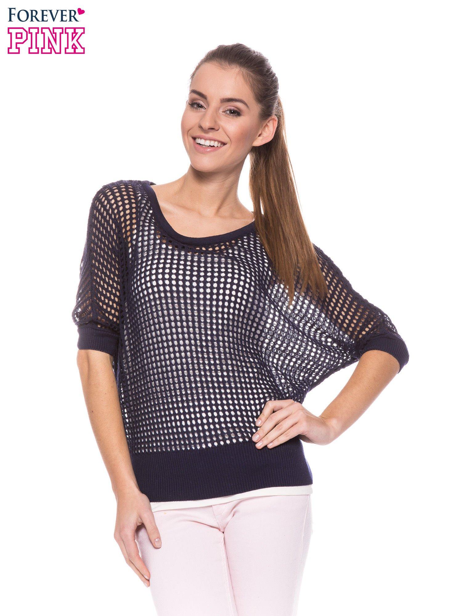 Granatowy ażurowy sweter oversize                                  zdj.                                  5
