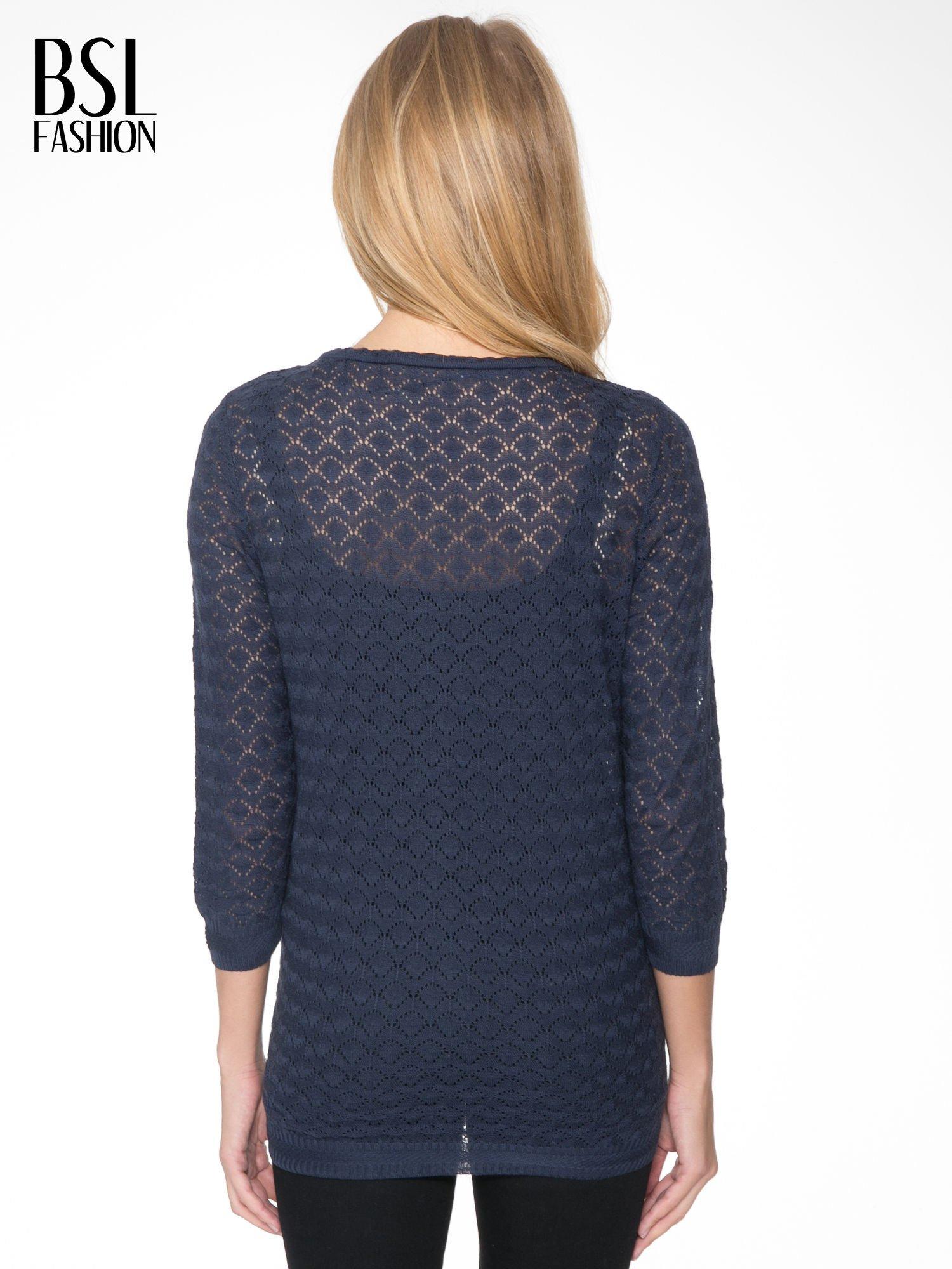 Granatowy ażurowy sweterek kardigan na guziki                                  zdj.                                  4