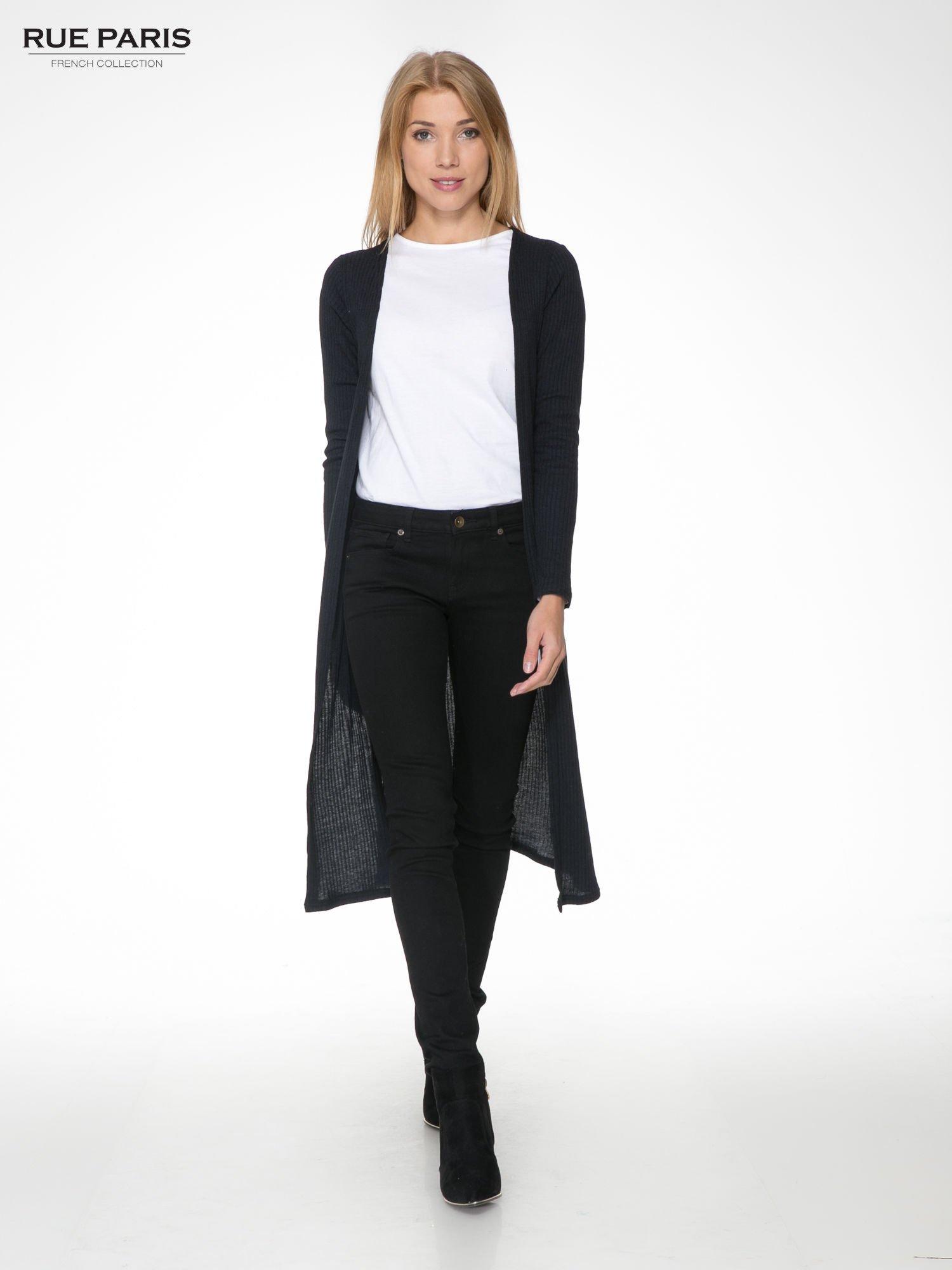 Granatowy długi prążkowany sweter kardigan                                  zdj.                                  2