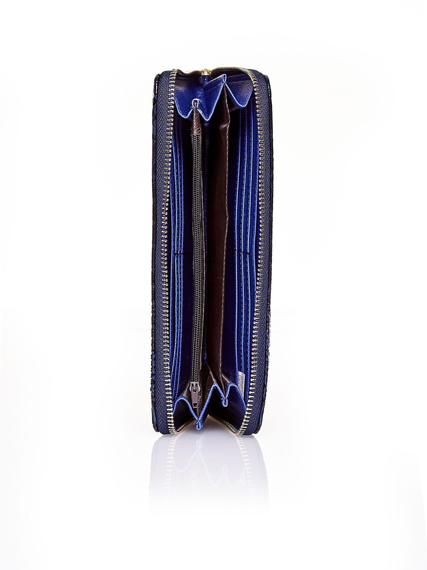 Granatowy portfel kopertówka z motywem skóry krokodyla                                  zdj.                                  3
