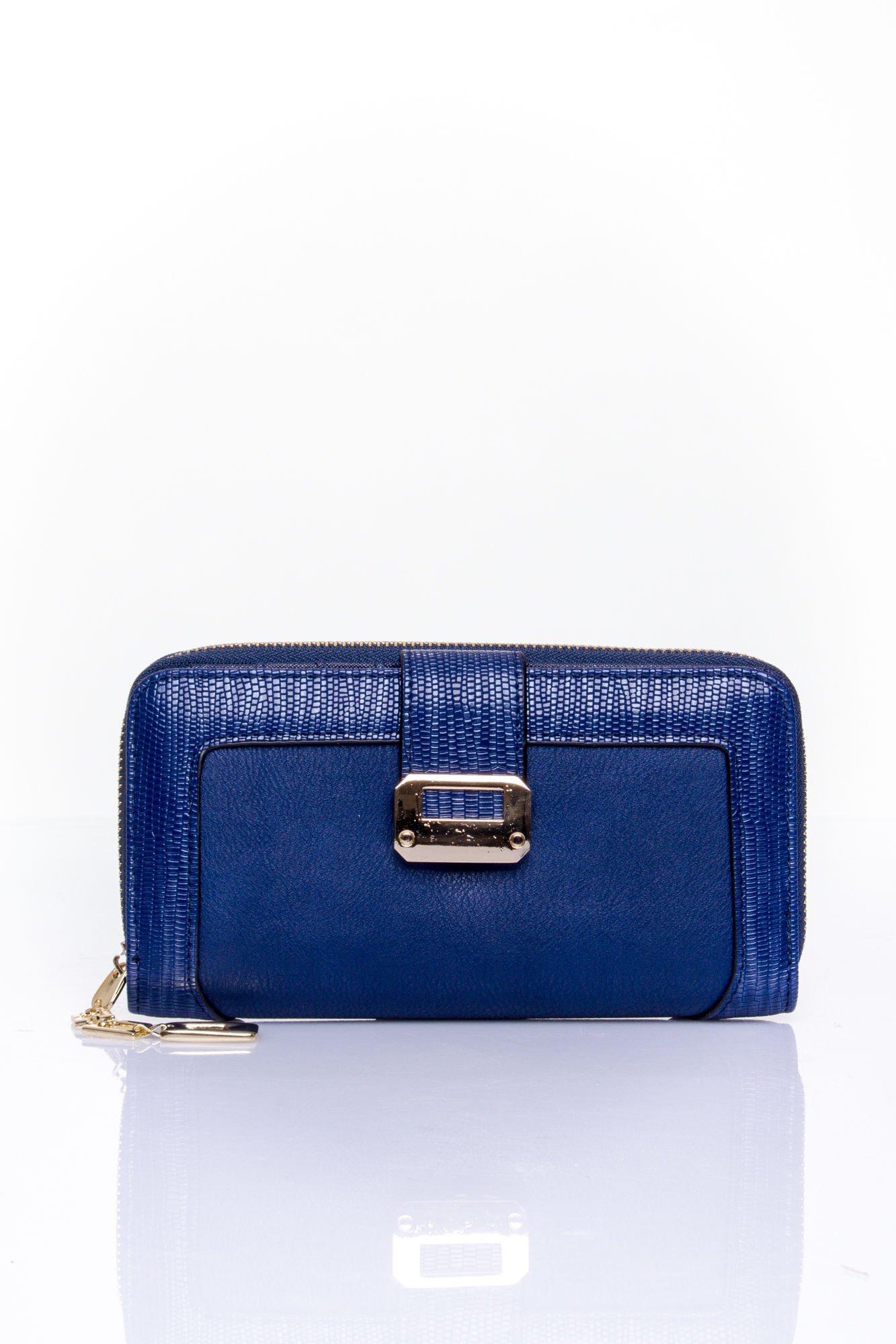 Granatowy portfel ze złotą klamerką                                  zdj.                                  1