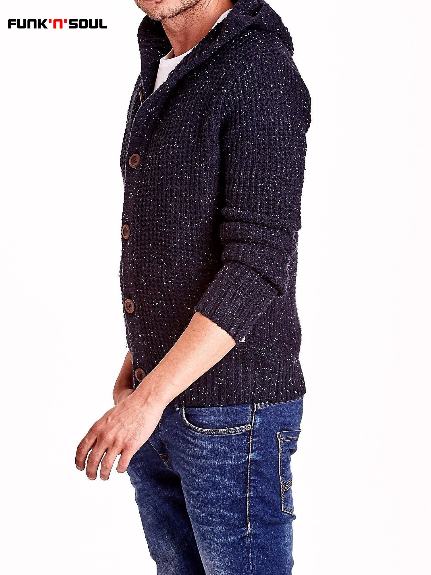 Granatowy sweter męski z kapturem FUNK N SOUL                                  zdj.                                  4