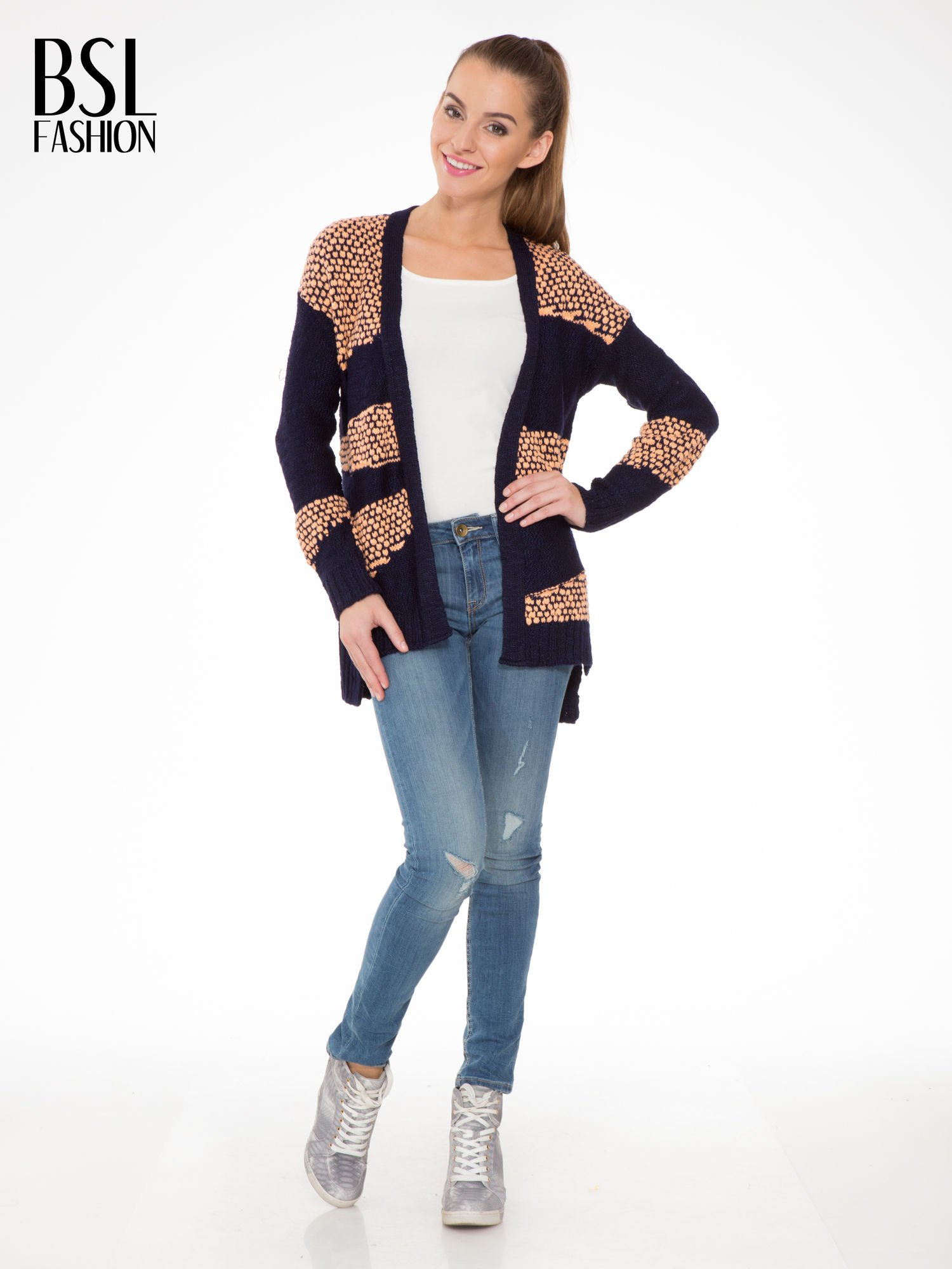 Granatowy sweter typu otwarty kardigan z ozdobnym ściegiem                                  zdj.                                  2