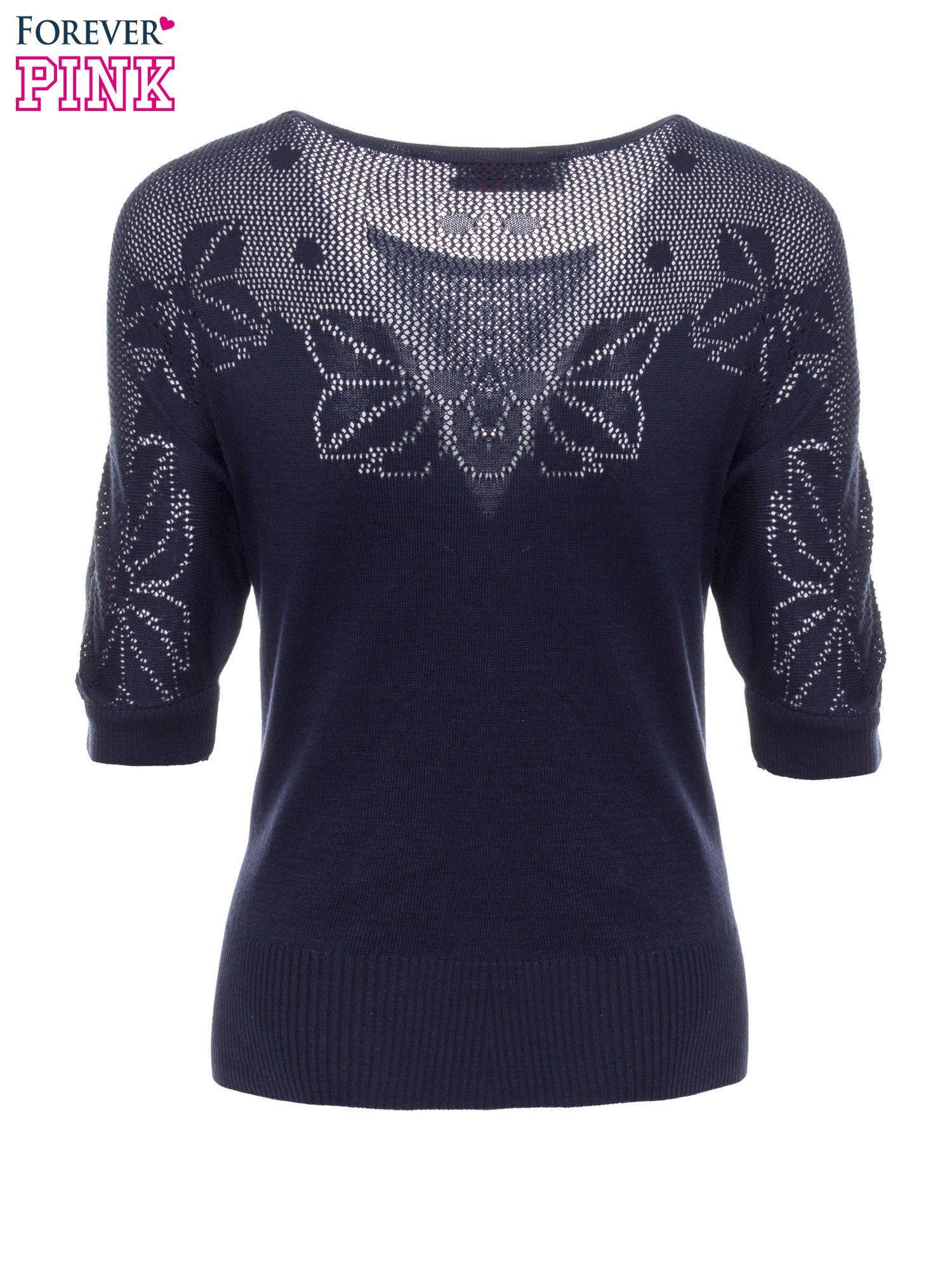 Granatowy sweter z ażurową górą i krótkim rękawkiem                                  zdj.                                  7