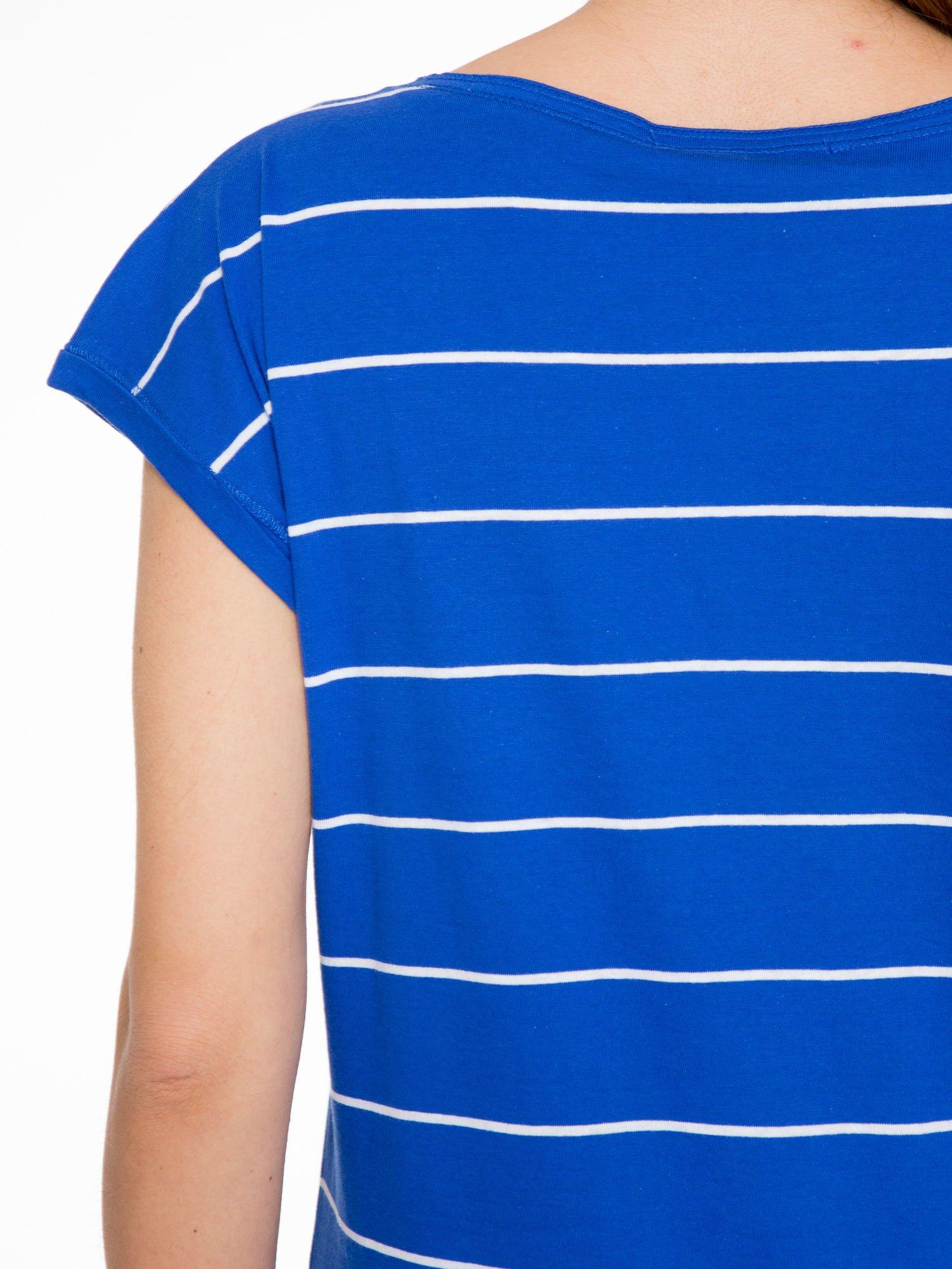 Granatowy  t-shirt w paski                                   zdj.                                  7