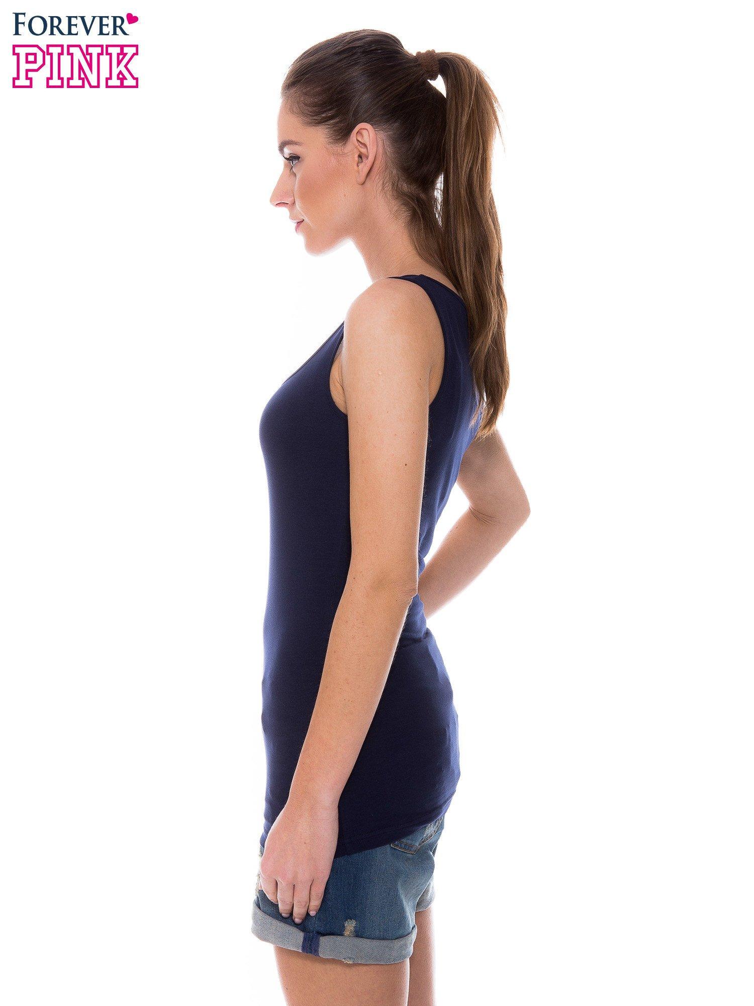 Granatowy top na szerokich ramiączkach                                  zdj.                                  2