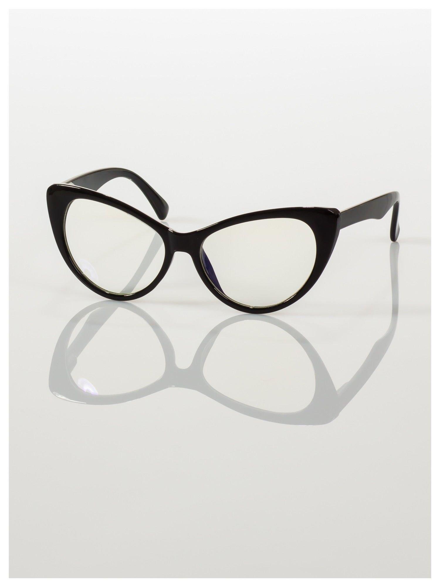 HIT 2016 Modne okulary zerówki typu KOCIE OCZY w stylu Marlin Monroe- soczewki ANTYREFLEKS+system FLEX na zausznikach                                  zdj.                                  3