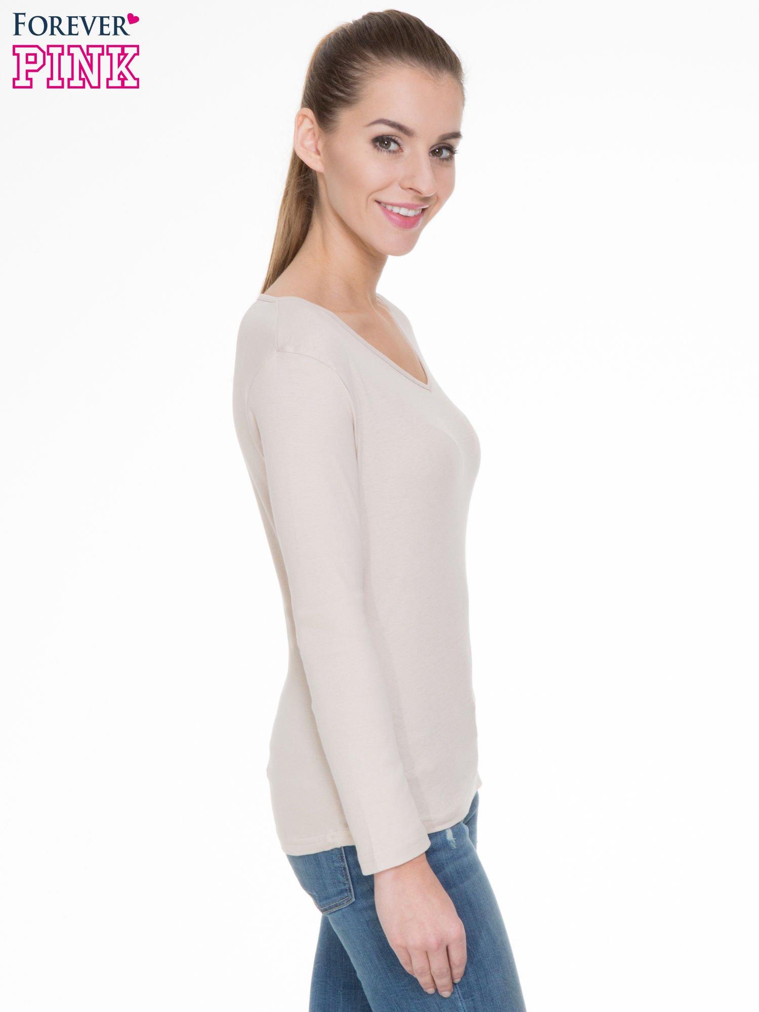 Jasnobeżowa bluzka z długim rękawem z bawełny                                  zdj.                                  3
