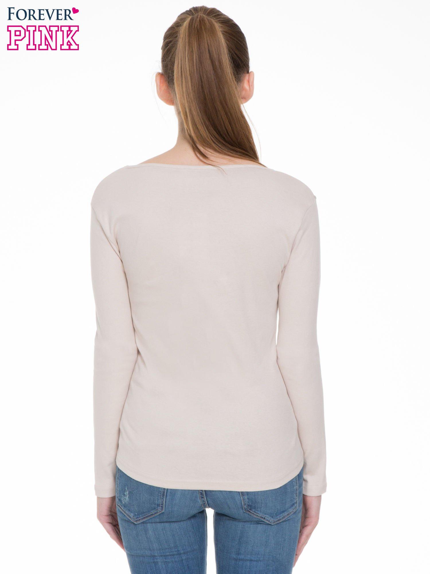 Jasnobeżowa bluzka z długim rękawem z bawełny                                  zdj.                                  4