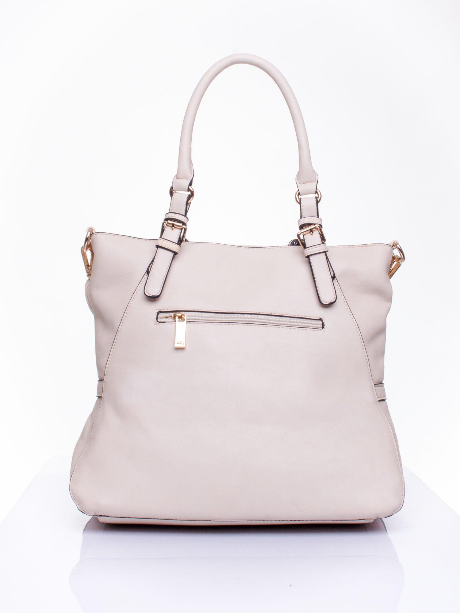 Jasnobeżowa dziurkowana torba shopper z portfelem                                  zdj.                                  4