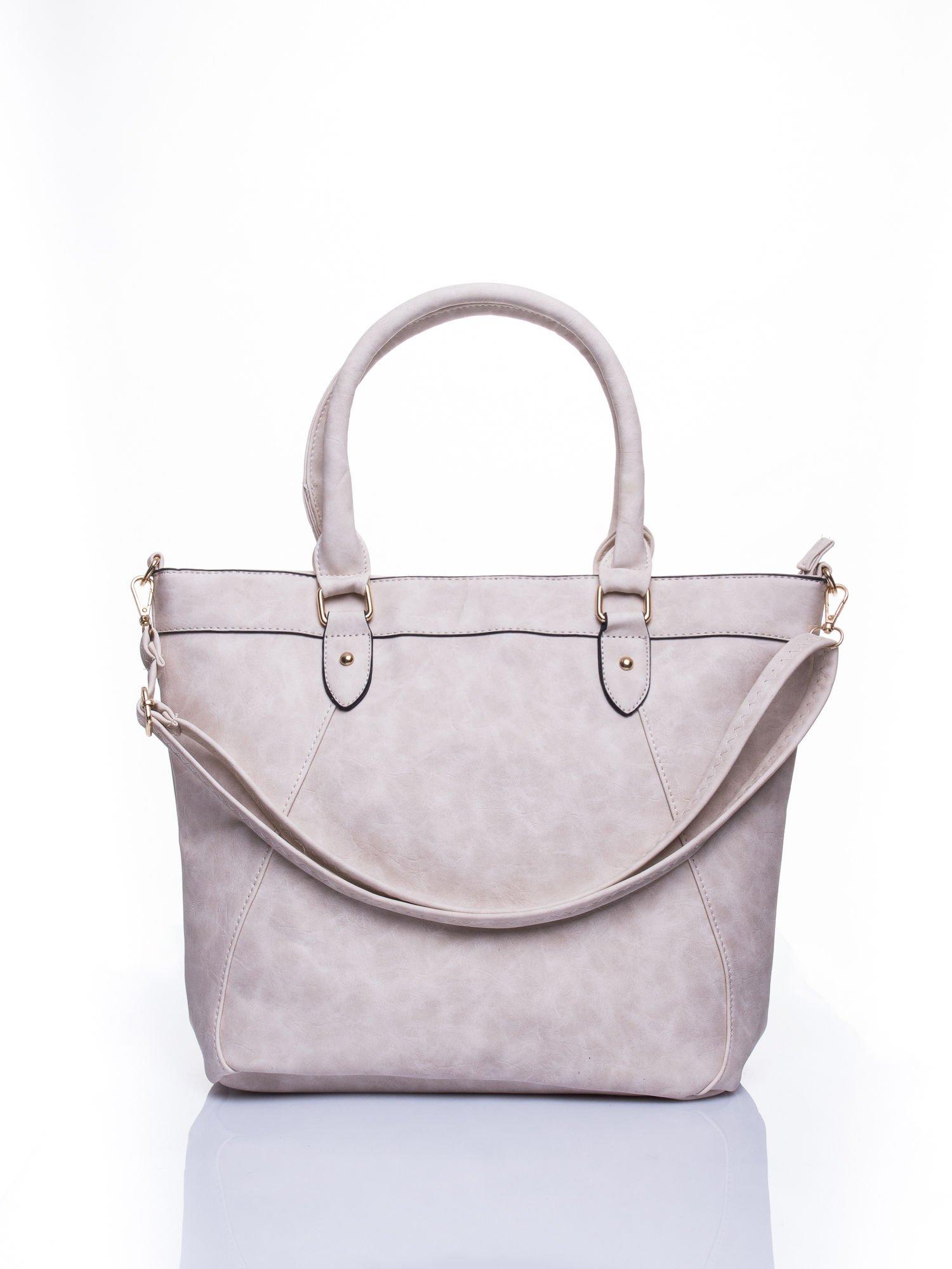 Jasnobeżowa torba city bag na ramię                                  zdj.                                  1