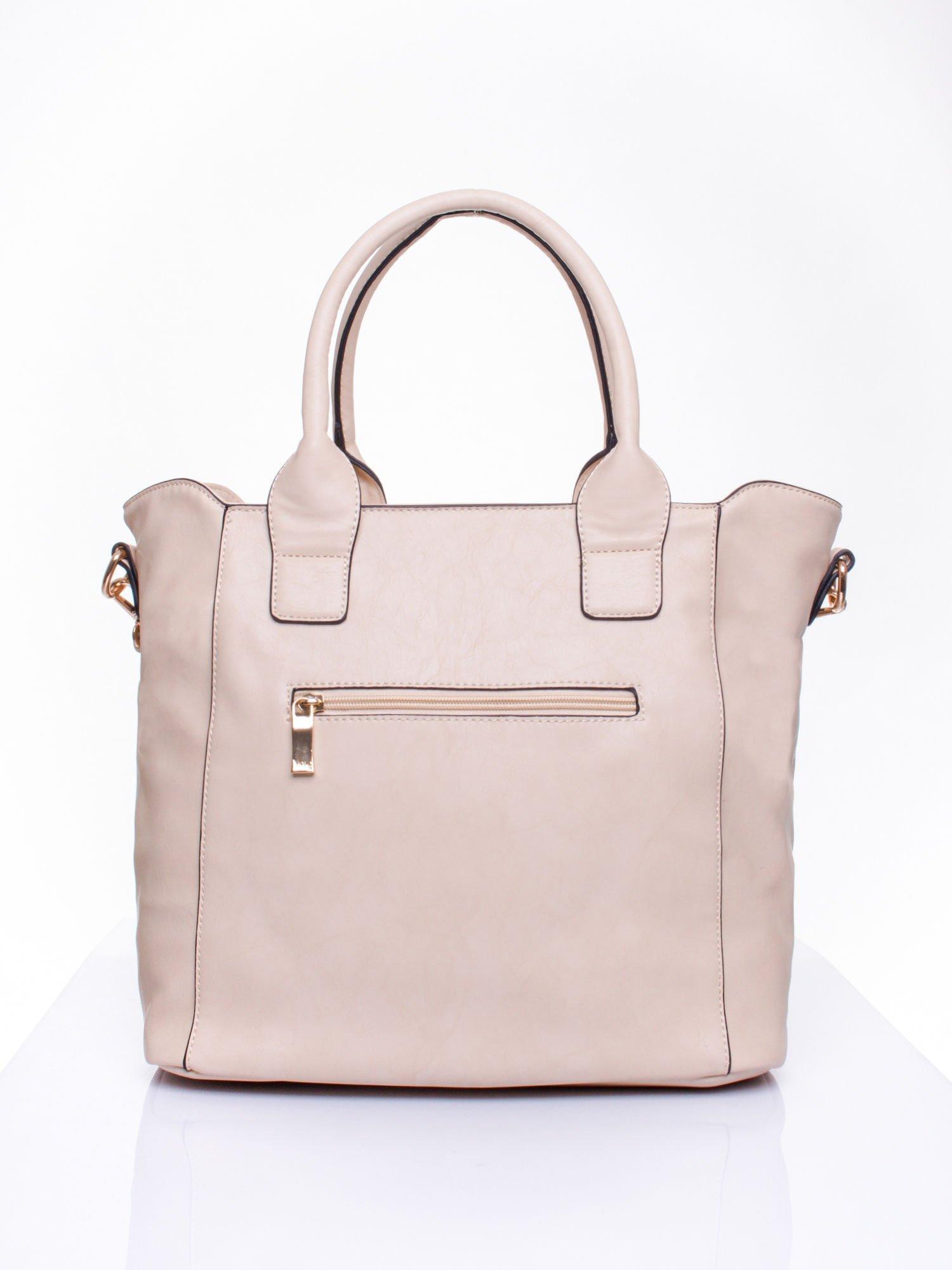 Jasnobeżowa torba shopper ze stębnowaniem                                  zdj.                                  3