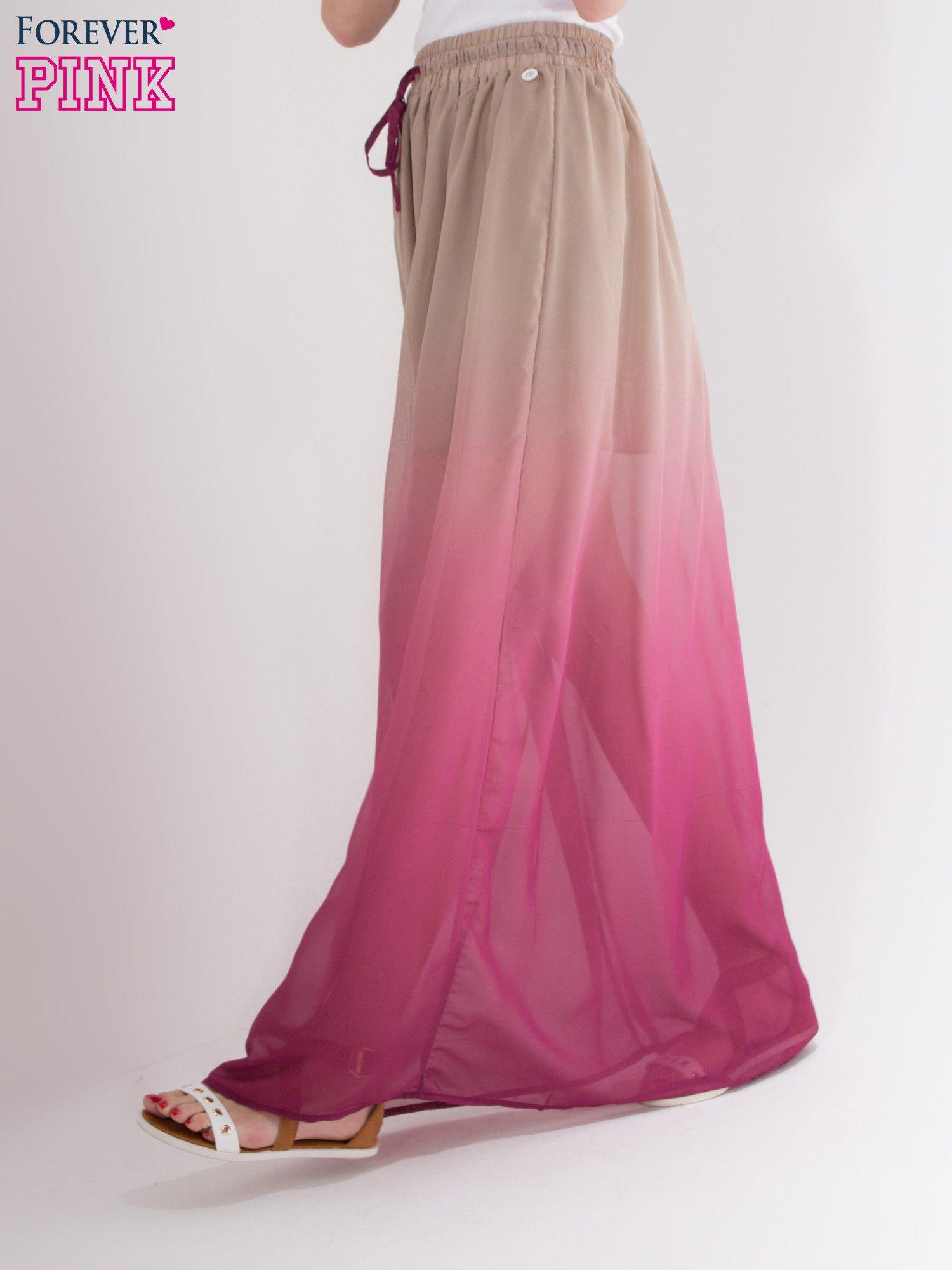 Jasnobrązowa długa spódnica maxi z efektem ombre                                  zdj.                                  2