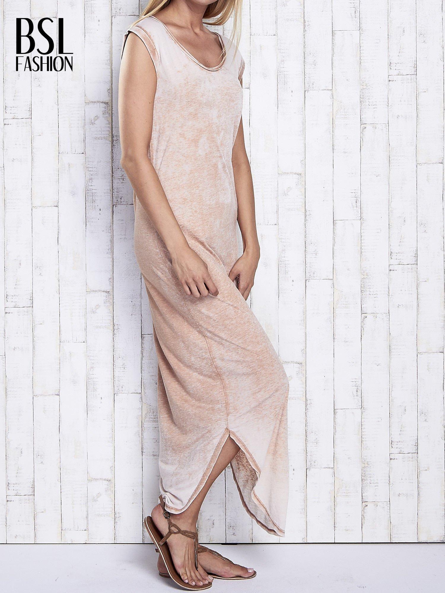 Jasnobrązowa długa sukienka acid wash                                   zdj.                                  3