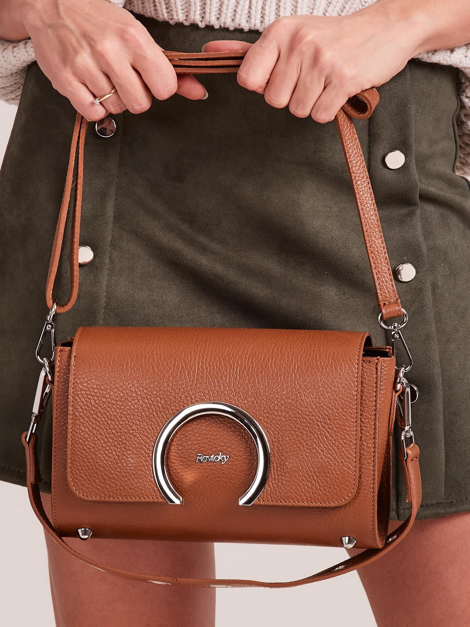 60e22769bf7e1 Brązowa elegancka listonoszka ze skóry - Akcesoria torba - sklep ...