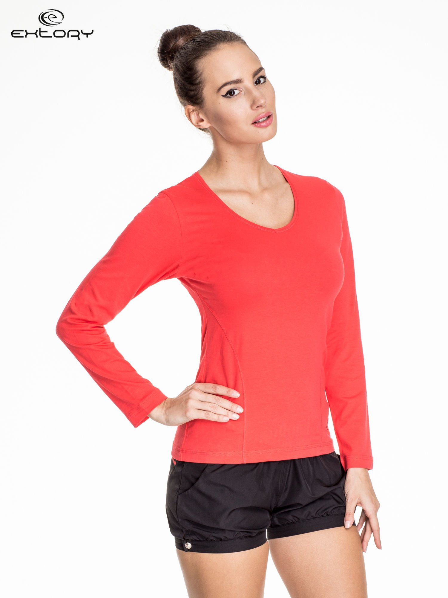 Jasnoczerwona bluzka sportowa basic PLUS SIZE                                  zdj.                                  1
