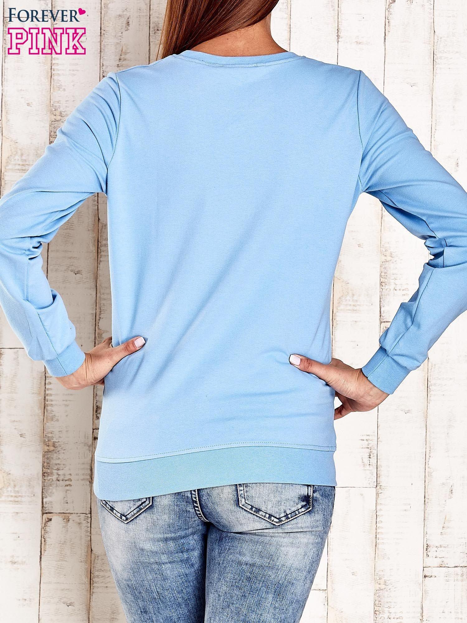 Jasnoniebieska bluza z napisem GLITTER SPARKLE SHINE                                  zdj.                                  2
