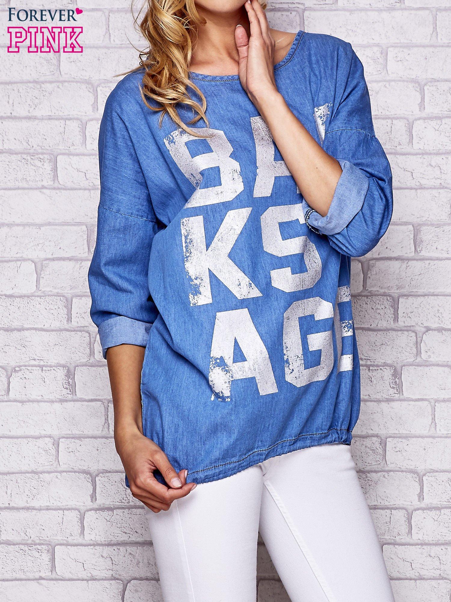 Jasnoniebieska jeansowa tunika ze sznureczkiem                                  zdj.                                  1