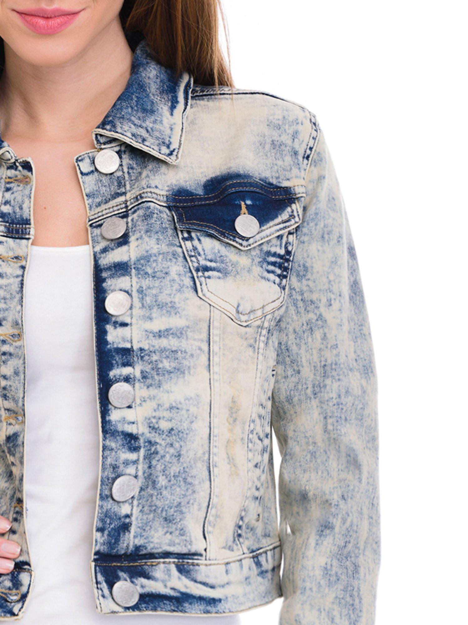 Jasnoniebieska kurtka jeansowa damska z marmurkowego denimu                                  zdj.                                  5
