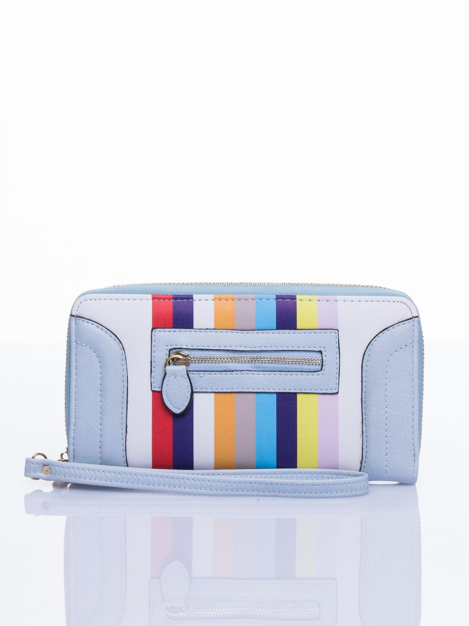 Jasnoniebieski portfel w paski z kieszonką                                  zdj.                                  2
