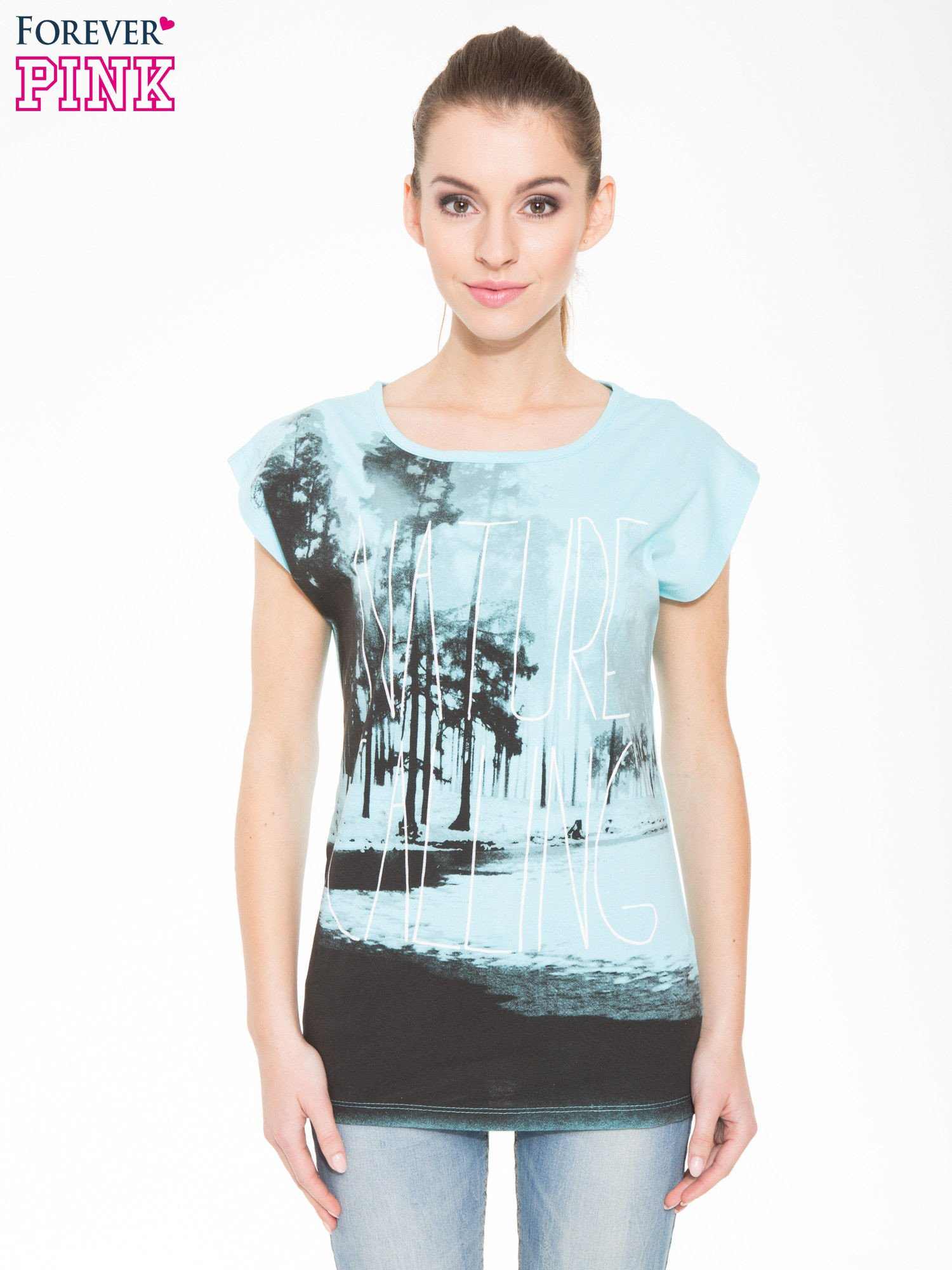 Jasnoniebieski t-shirt z nadrukiem NATURE                                  zdj.                                  1