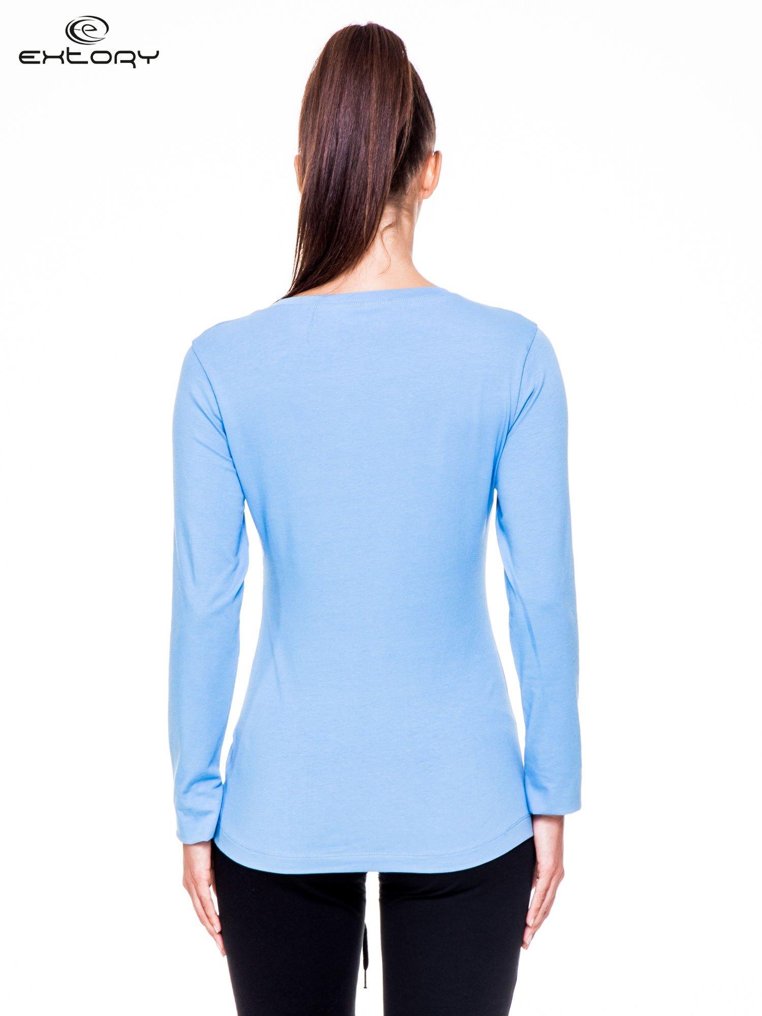 Jasnoniebieskie bluzka sportowa z dekoltem U                                  zdj.                                  4