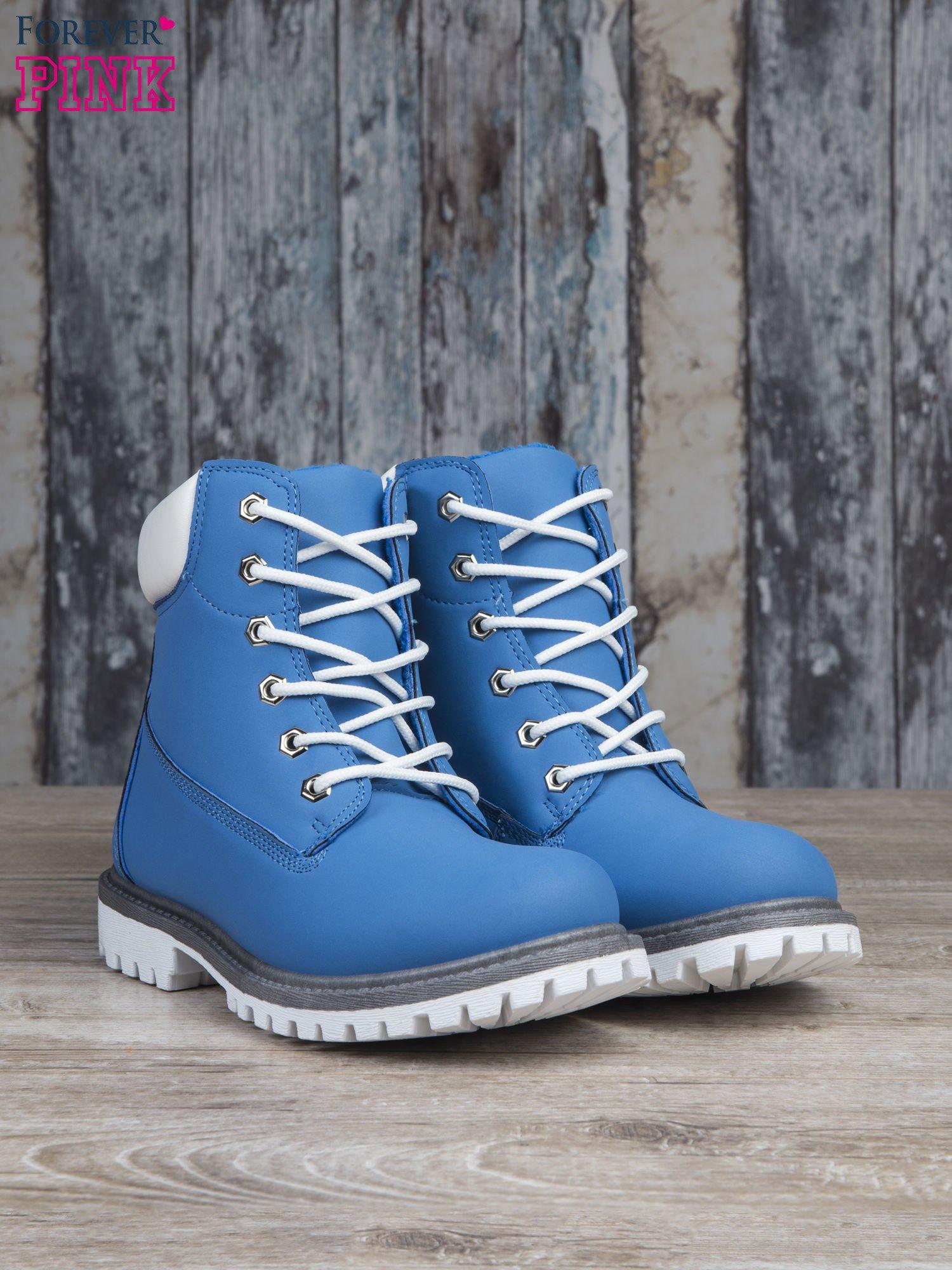 Jasnoniebieskie buty trekkingowe damskie Amina traperki ocieplane                                  zdj.                                  3