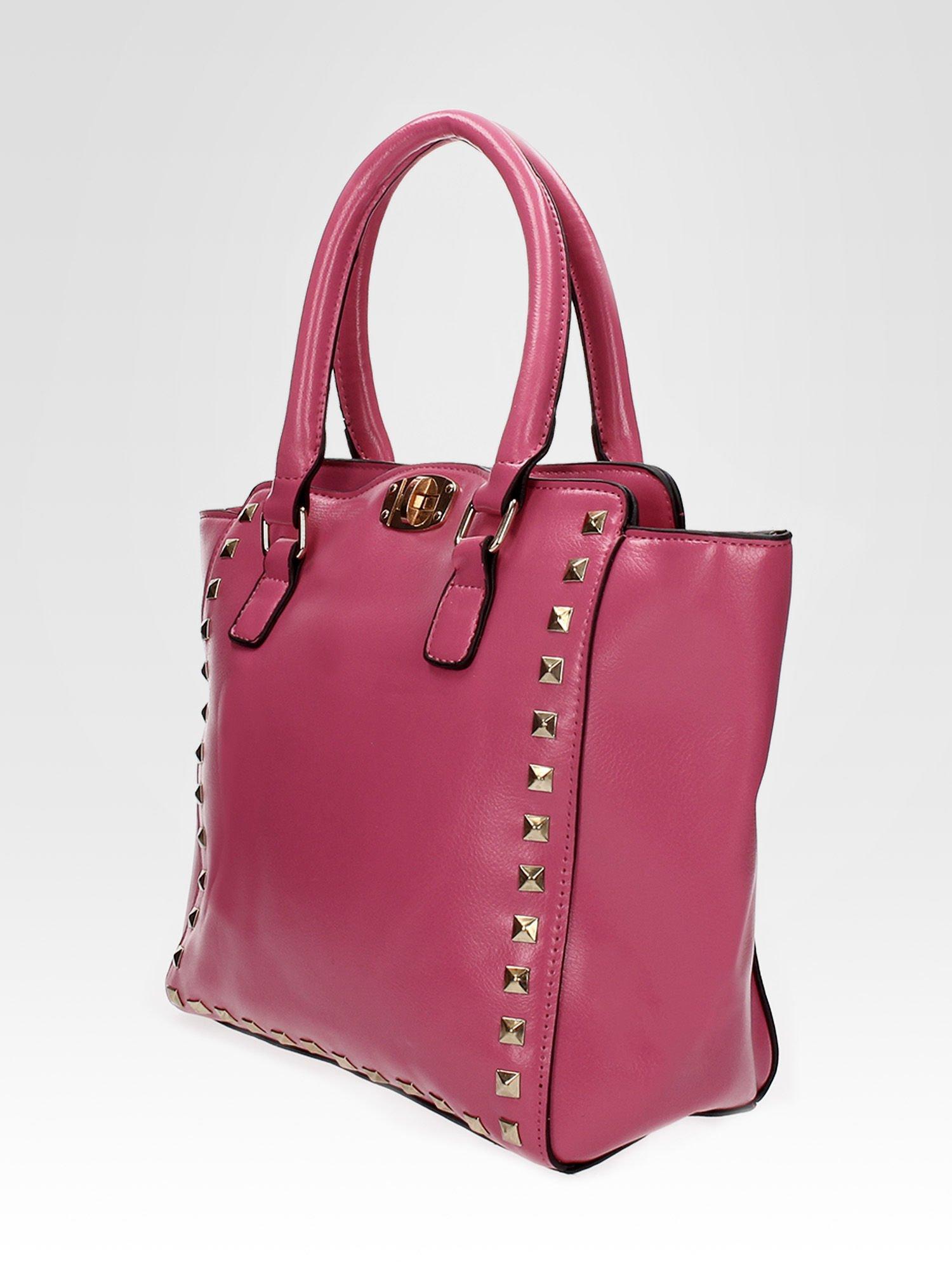 Jasnoróżowa torebka na ramię z dżetami                                  zdj.                                  9
