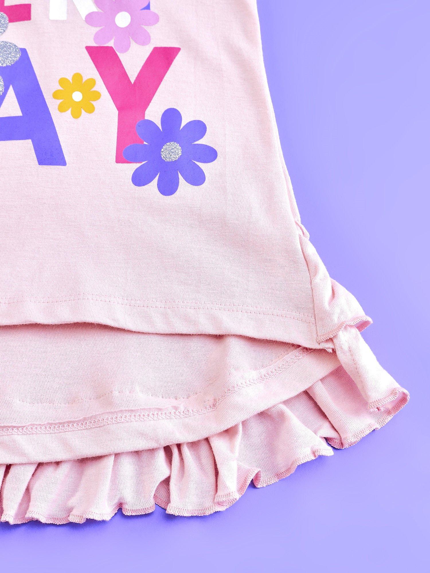 Jasnoróżowa tunika dla dziewczynki z falbankami HELLO KITTY                                   zdj.                                  5