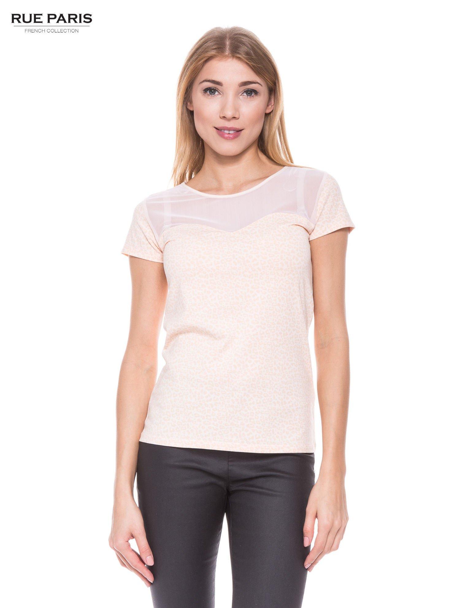 Jasnoróżowy panterkowy t-shirt z transparentnym karczkiem                                  zdj.                                  1