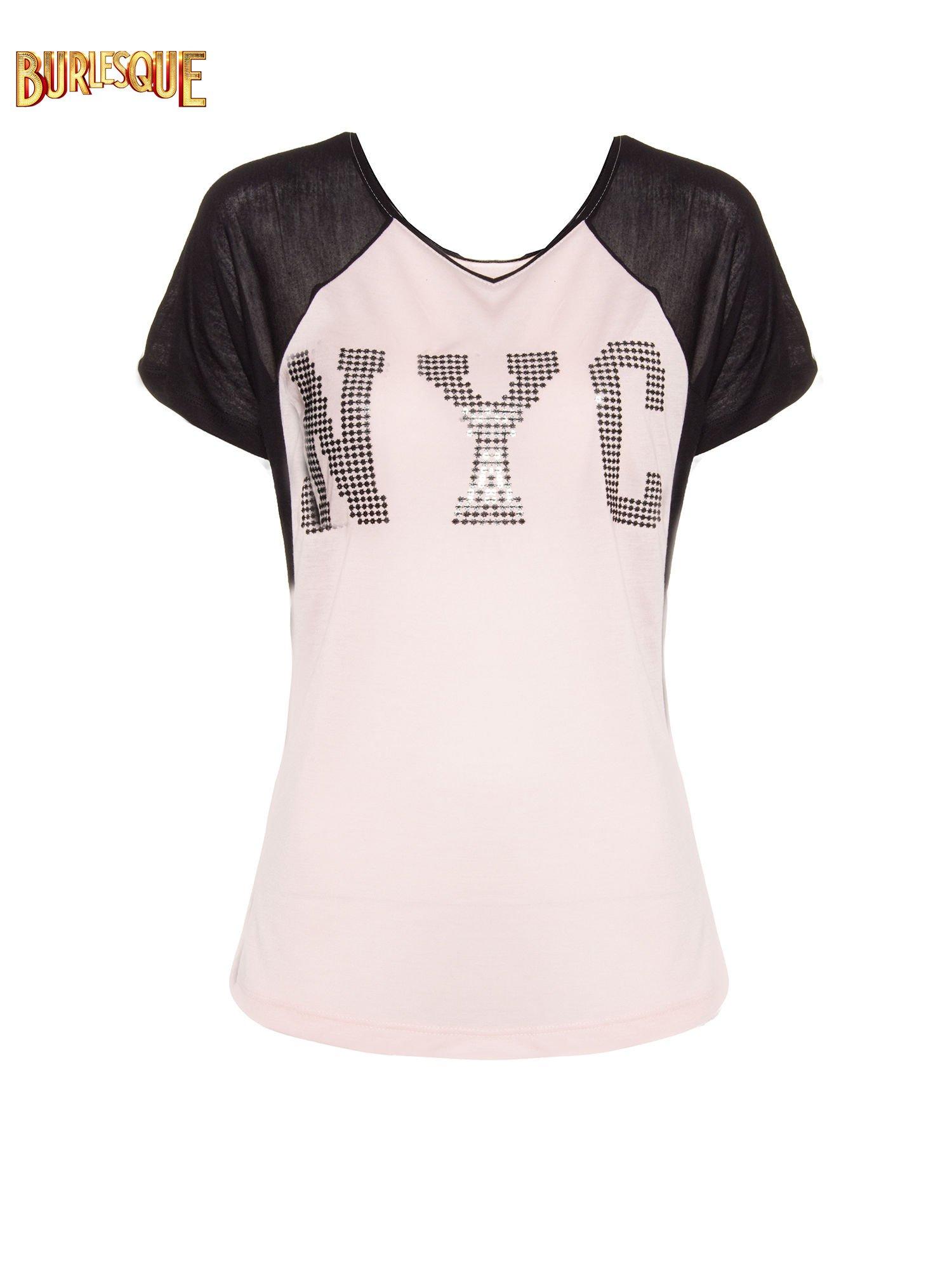 Jasnoróżowy t-shirt z błyszczącym nadrukiem NYC                                  zdj.                                  1