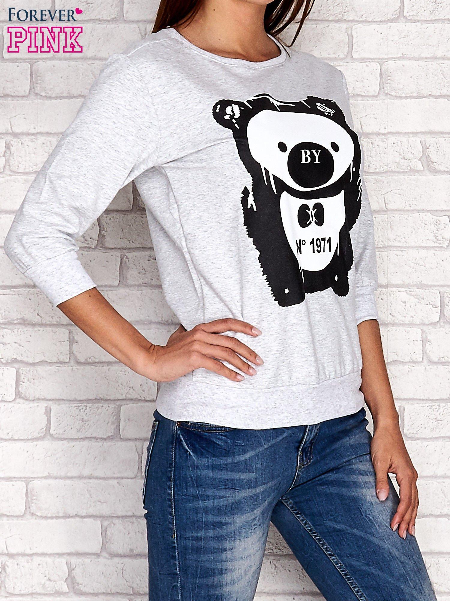 Jasnoszara bluza z nadrukiem pandy                                  zdj.                                  3