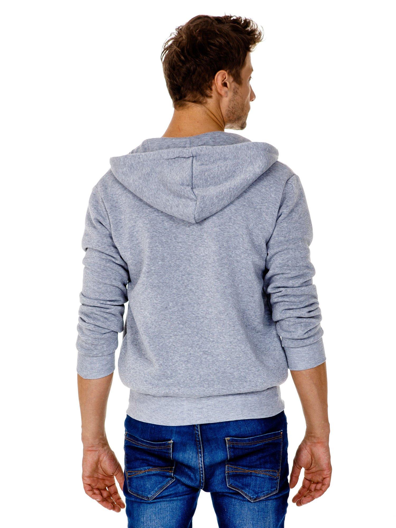 Jasnoszara gruba bluza męska z kapturem i kieszeniami                                  zdj.                                  5