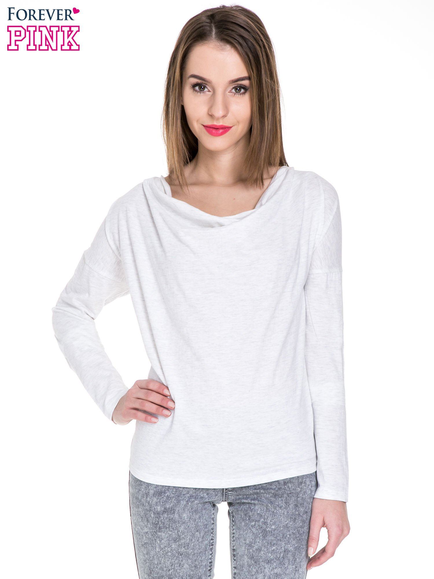 Jasnoszara melanżowa bawełniana bluzka z dekoltem typu woda                                  zdj.                                  1