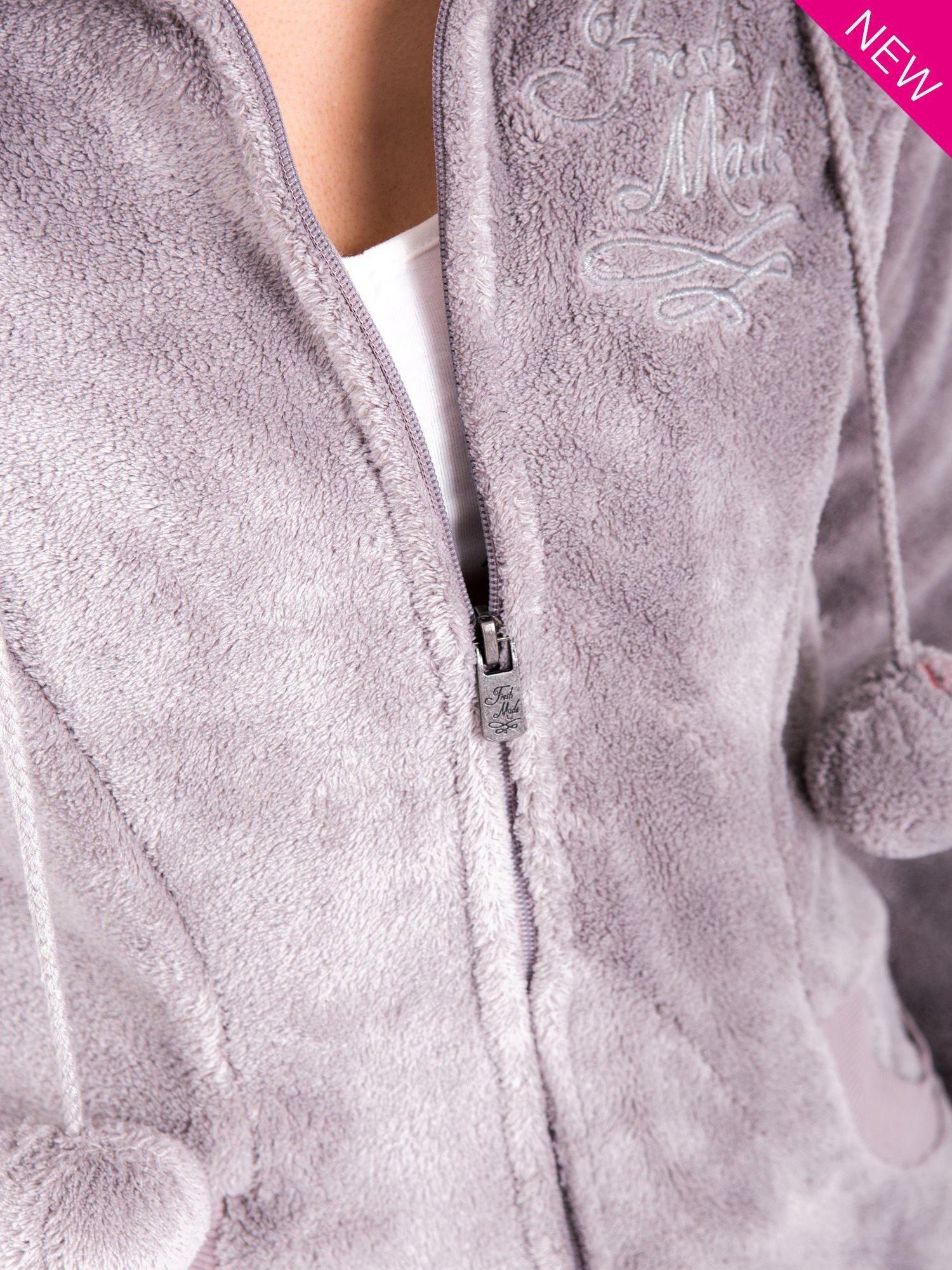 Jasnoszara pluszowa bluza z kapturem z uszkami i pomponami                                  zdj.                                  6