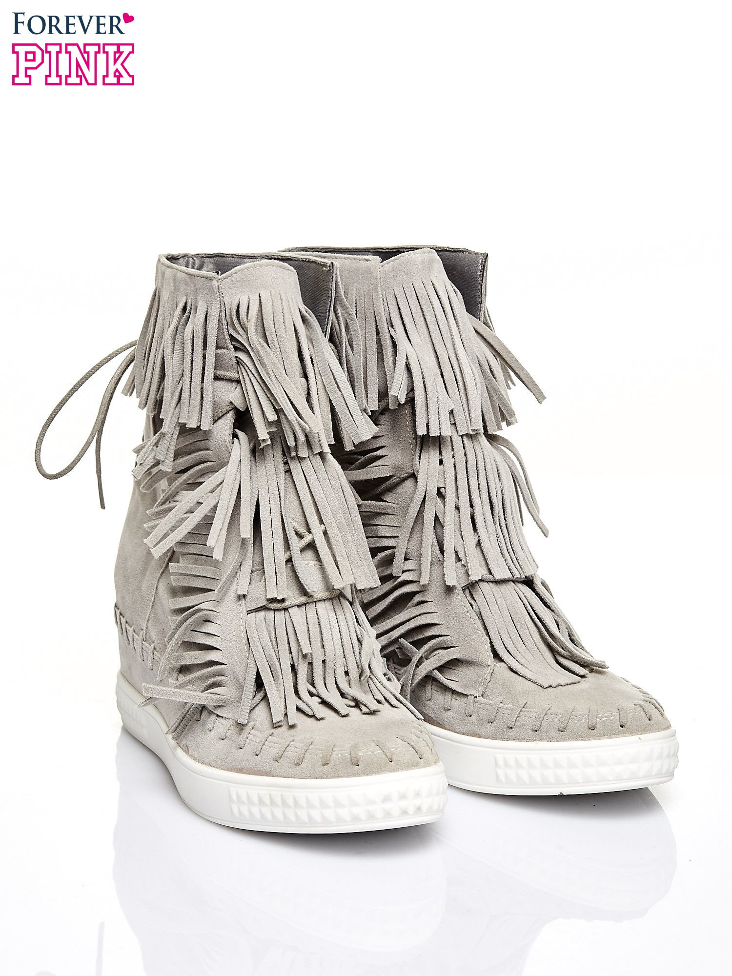 Jasnoszare sneakersy damskie z frędzlami                                  zdj.                                  2