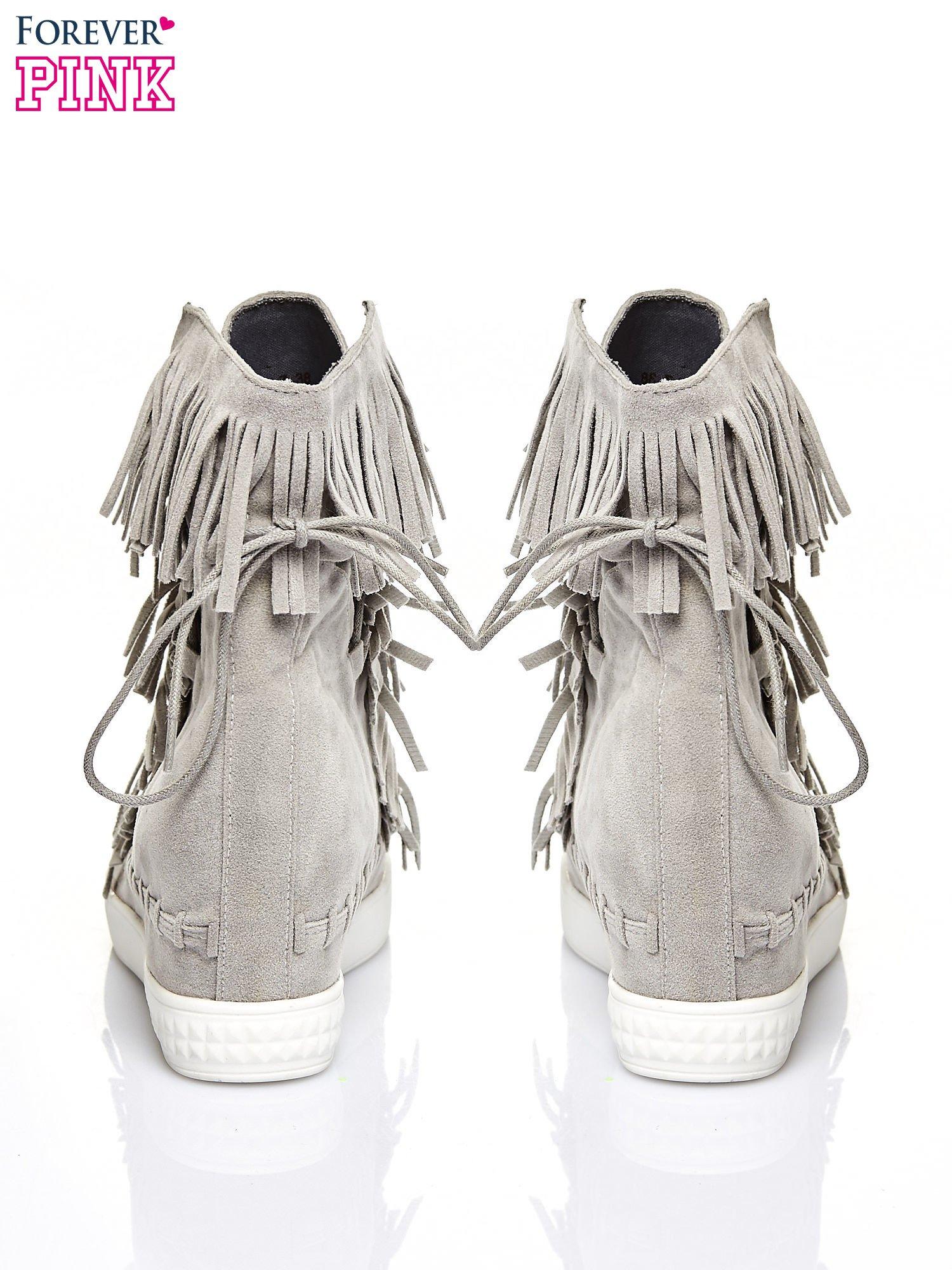 Jasnoszare sneakersy damskie z frędzlami                                  zdj.                                  3