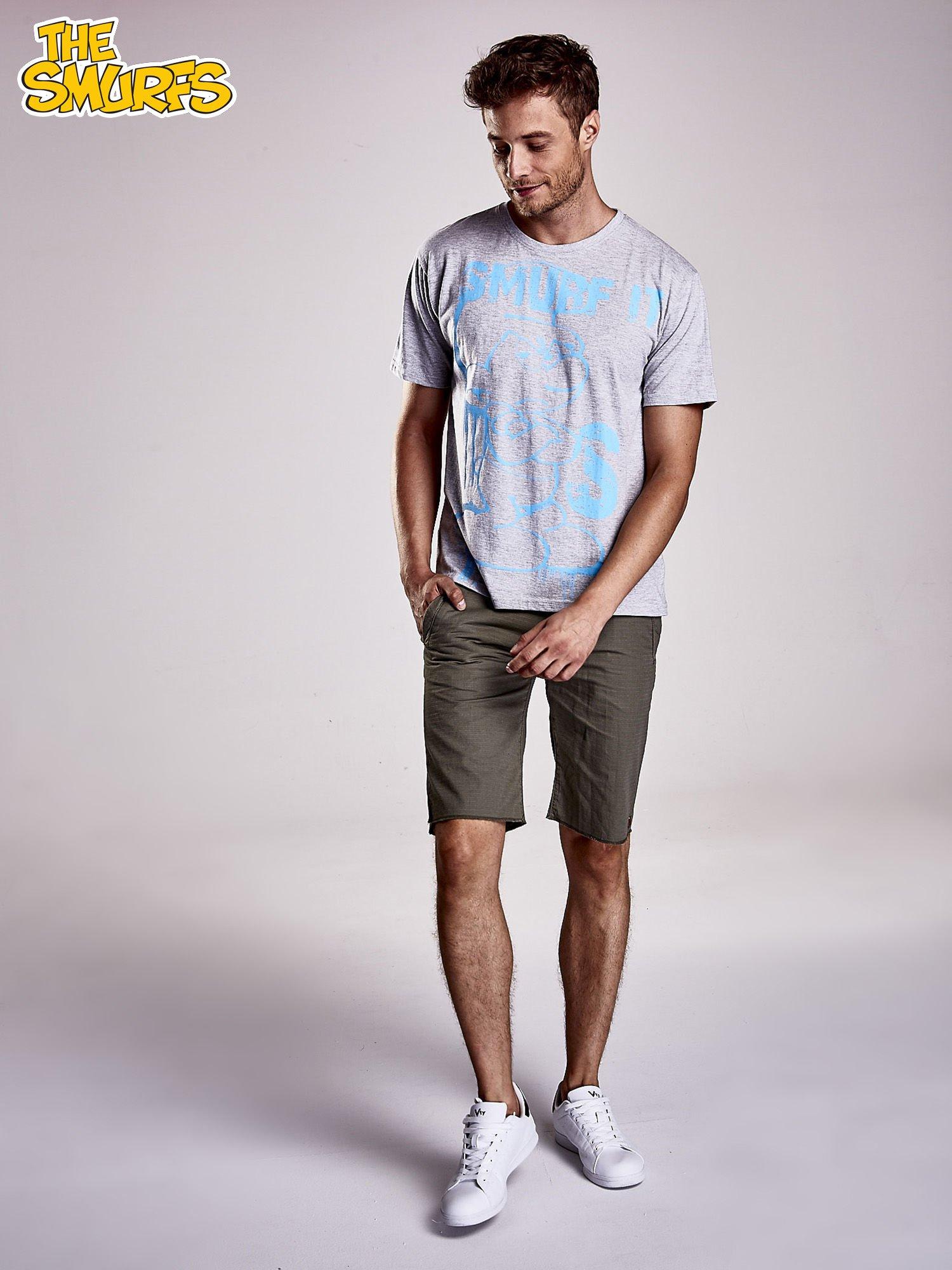 Jasnoszary t-shirt męski SMERFY                                  zdj.                                  5