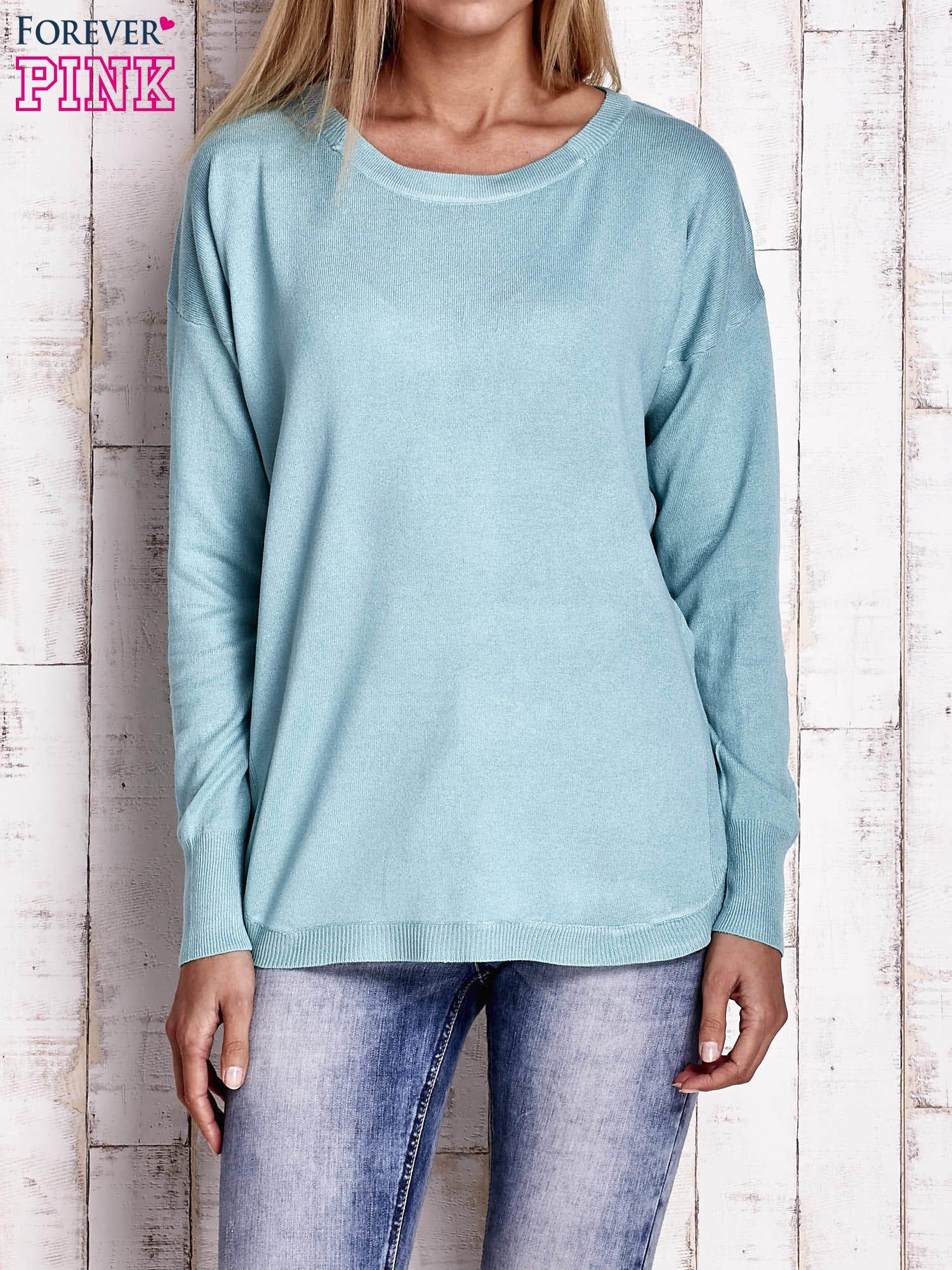 Jasnoturkusowy sweter z okrągłym dekoltem                                  zdj.                                  1
