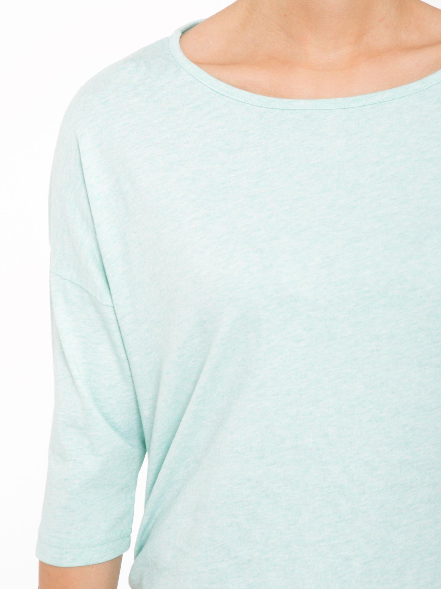 Jasnozielona luźna bluzka z rękawem 3/4                                  zdj.                                  5