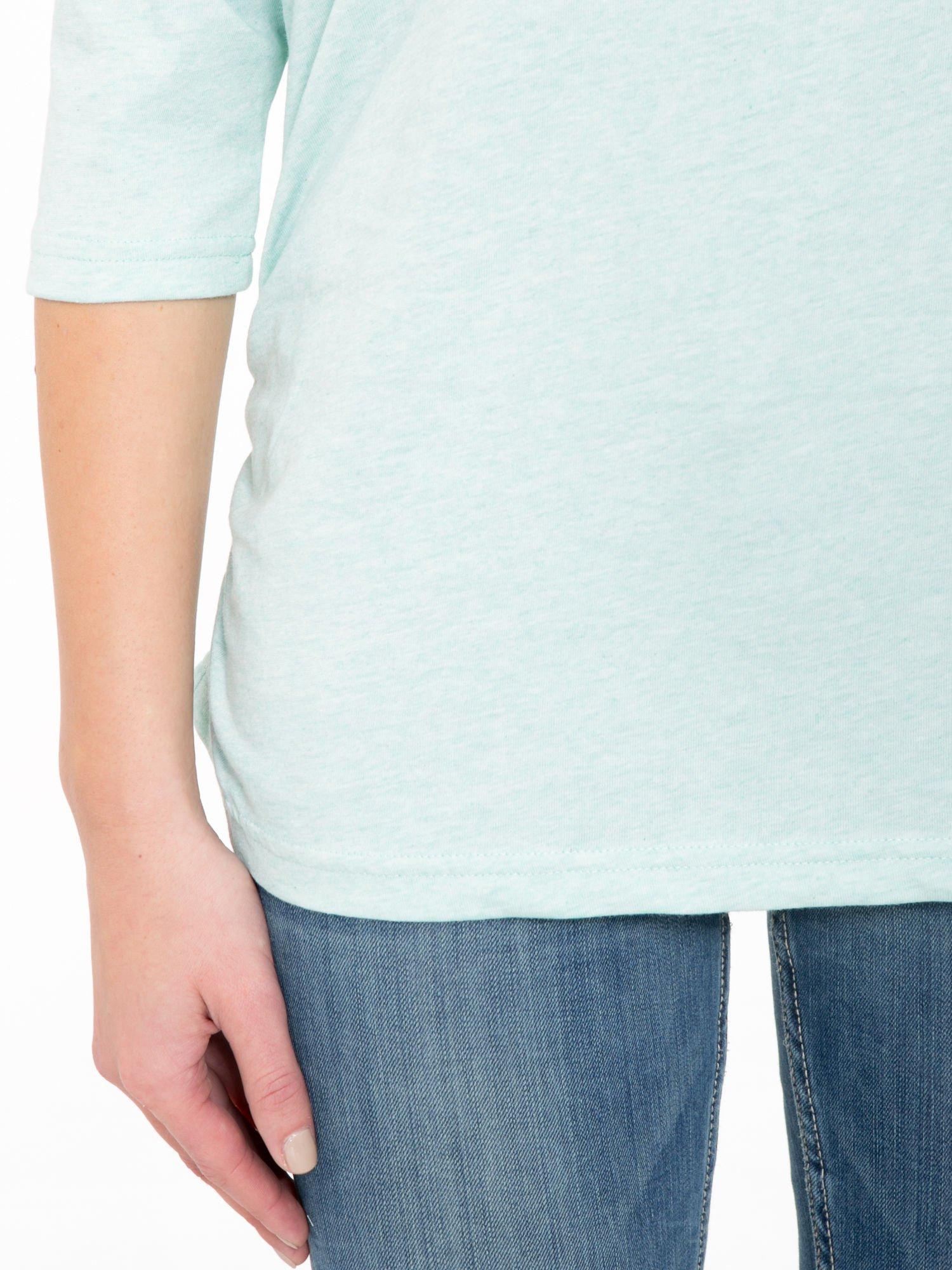 Jasnozielona luźna bluzka z rękawem 3/4                                  zdj.                                  6